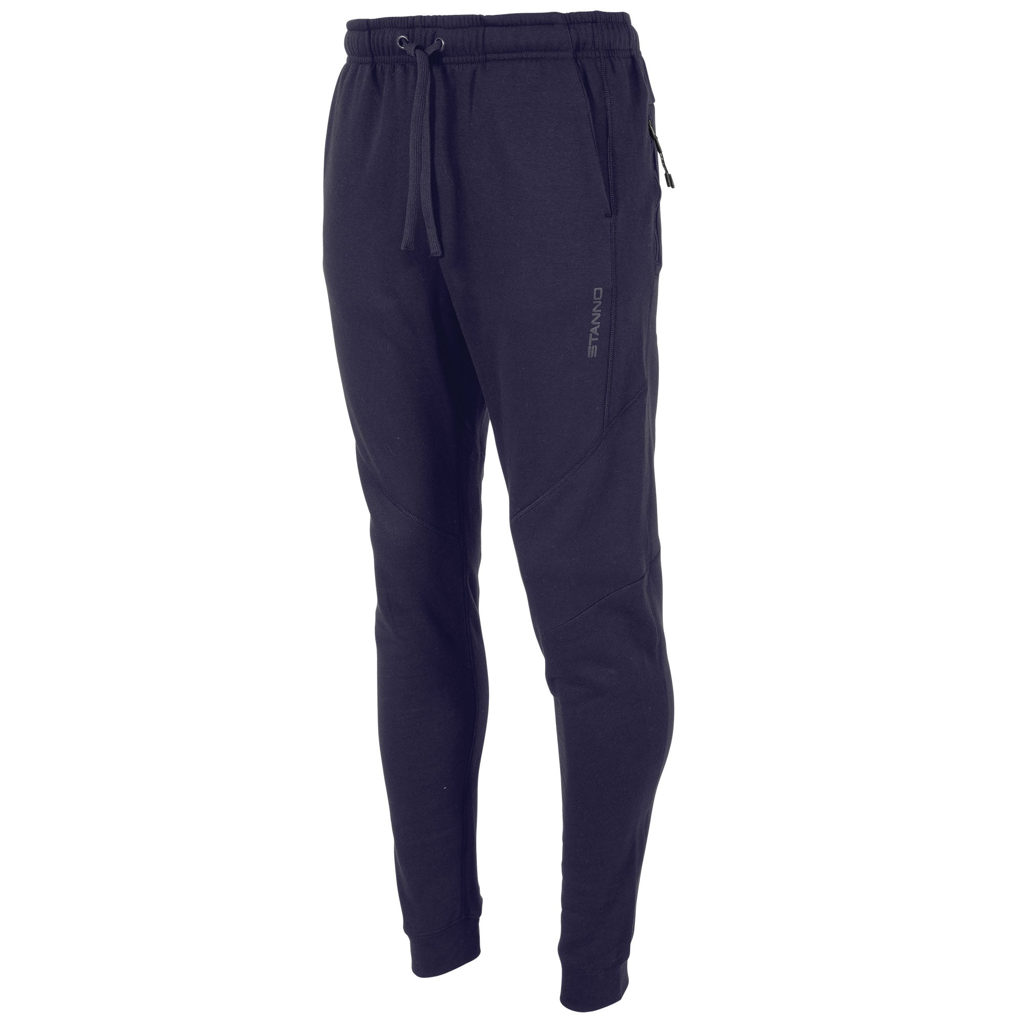 Front view of navy Stanno Ease Sweat Pants with 2 side pockets and drawstring cord on waistband.