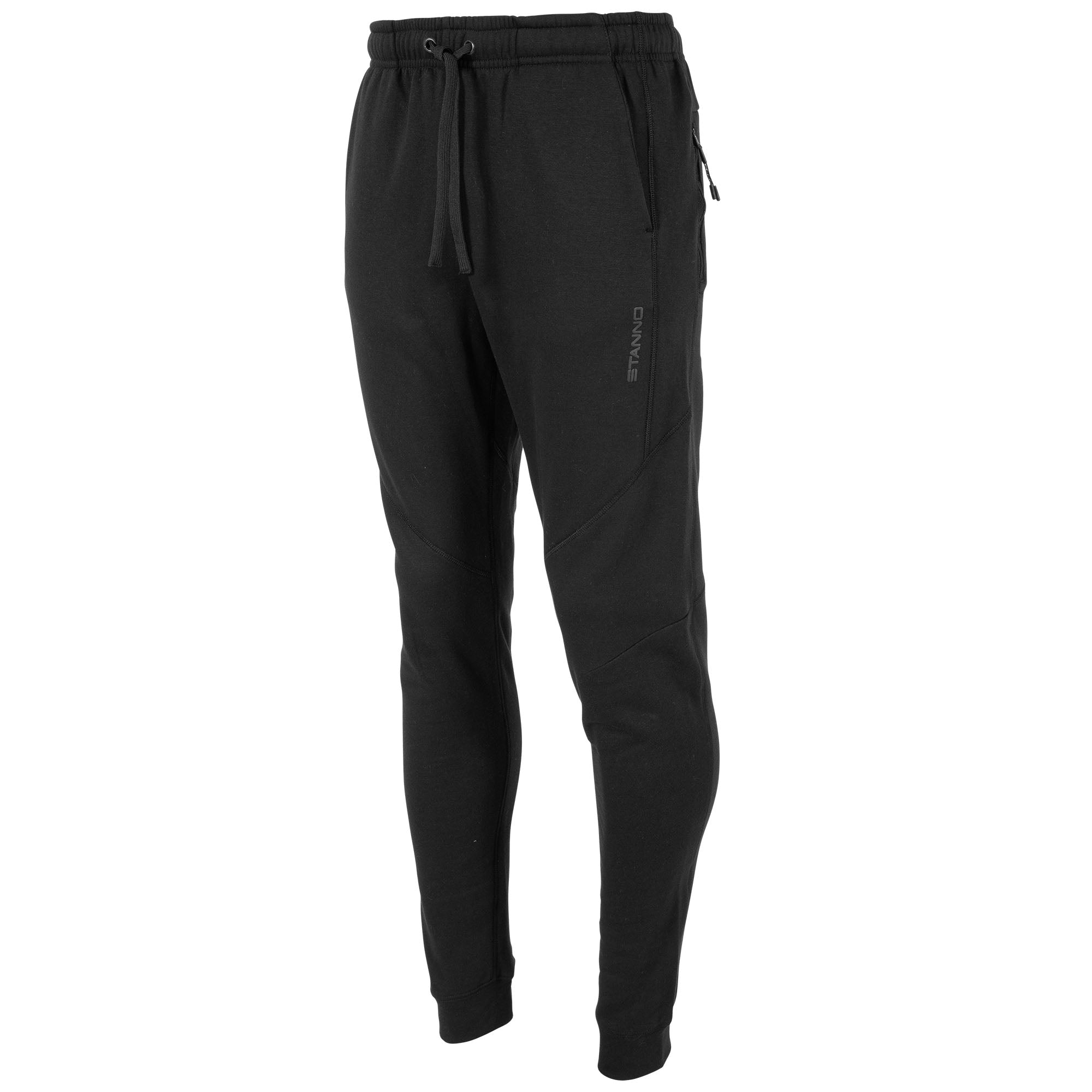 Front view of black Stanno Ease Sweat Pants with 2 side pockets and drawstring cord on waistband.