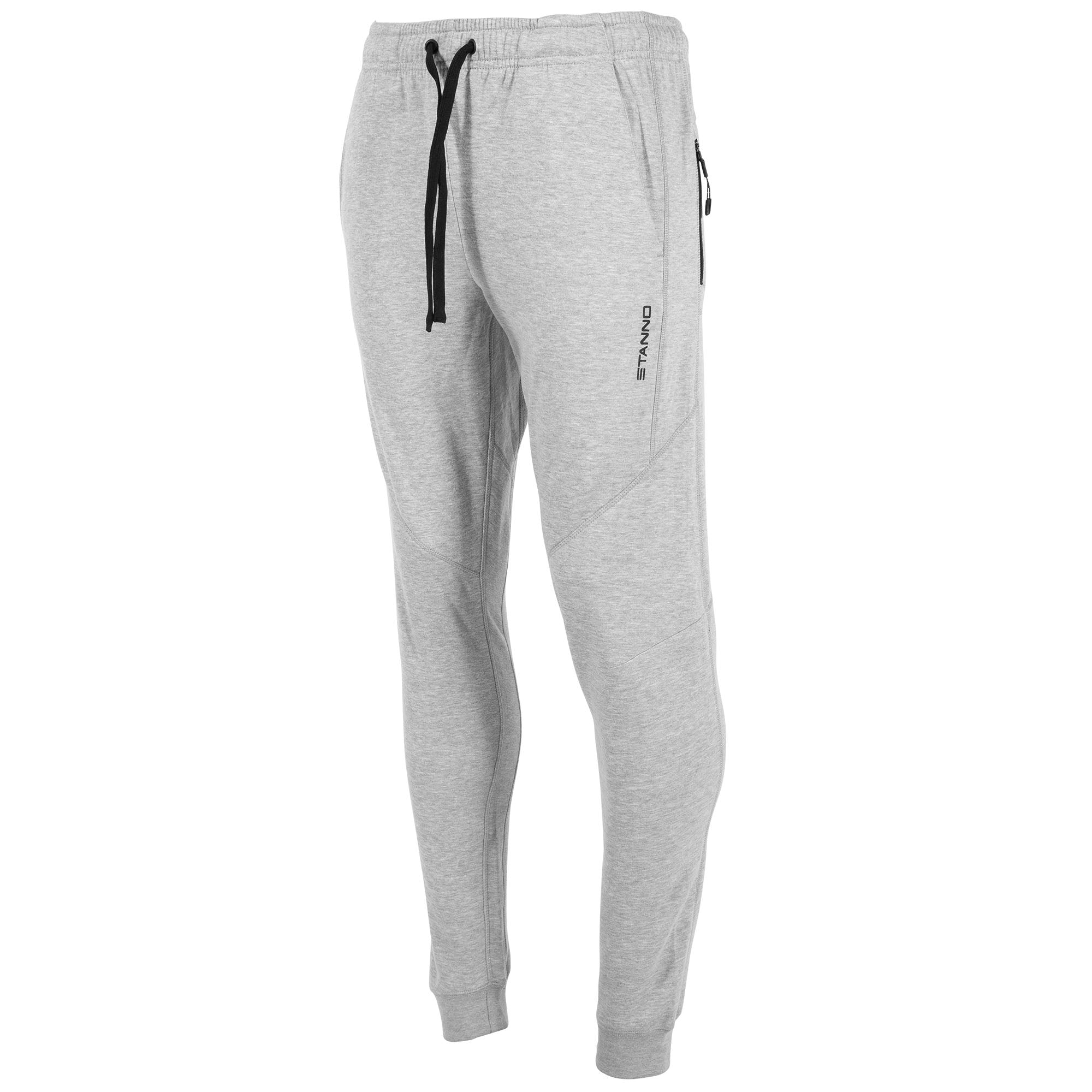 Front view of grey Stanno Ease Sweat Pants with 2 side pockets and black drawstring cord on waistband.