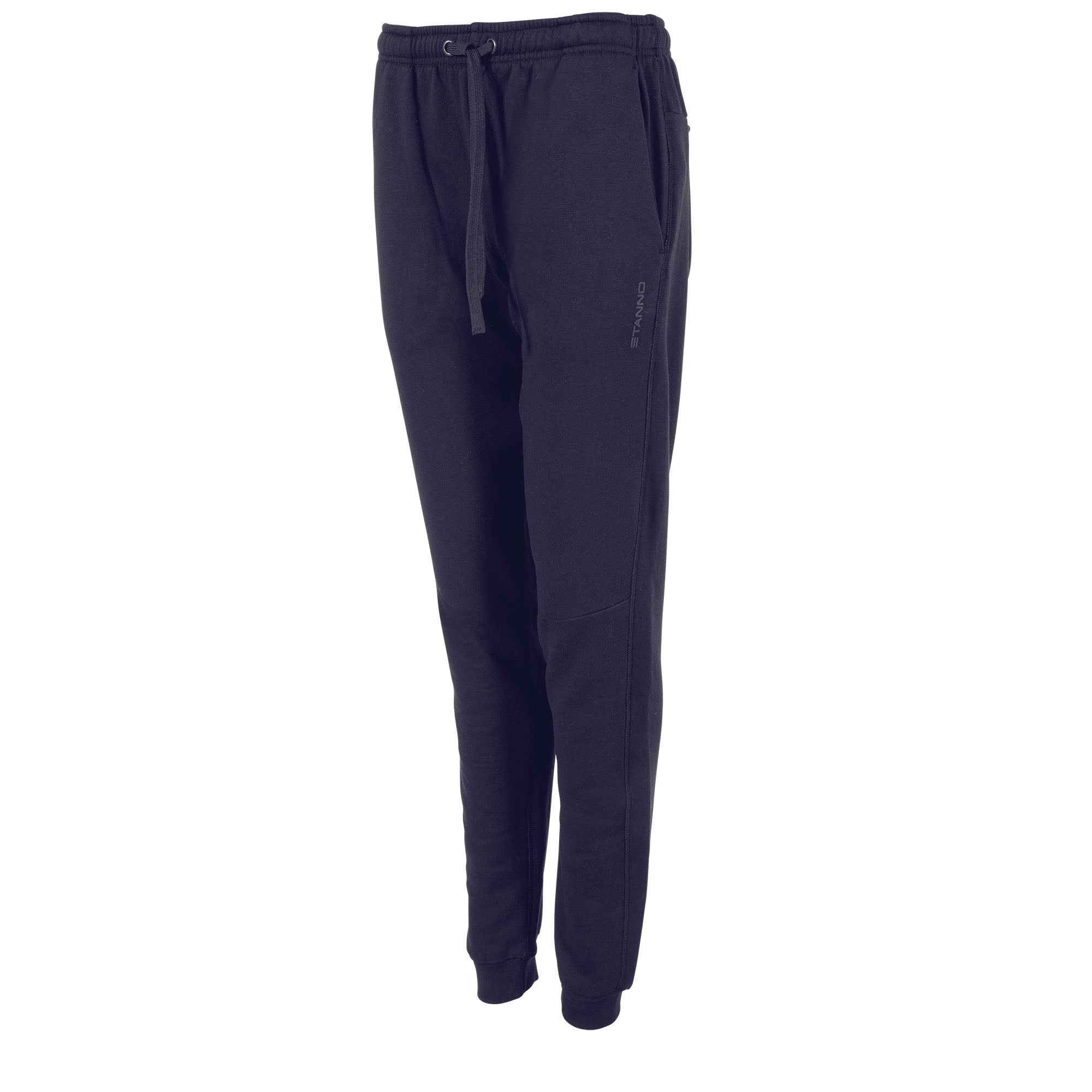 Front view of navy Stanno Ease Sweat Pants ladies with 2 side pockets and drawstring cord on waistband.