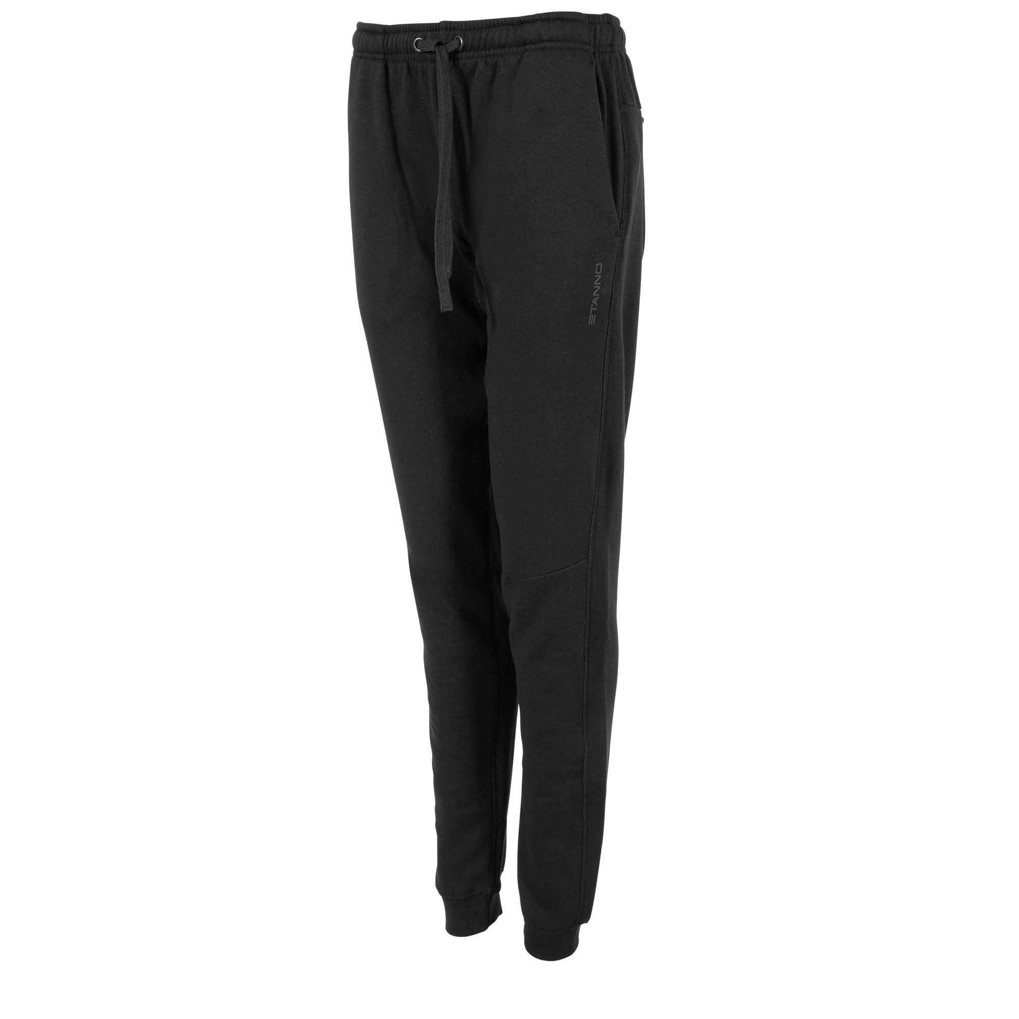 Front view of black Stanno Ease Sweat Pants ladies with 2 side pockets and drawstring cord on waistband.