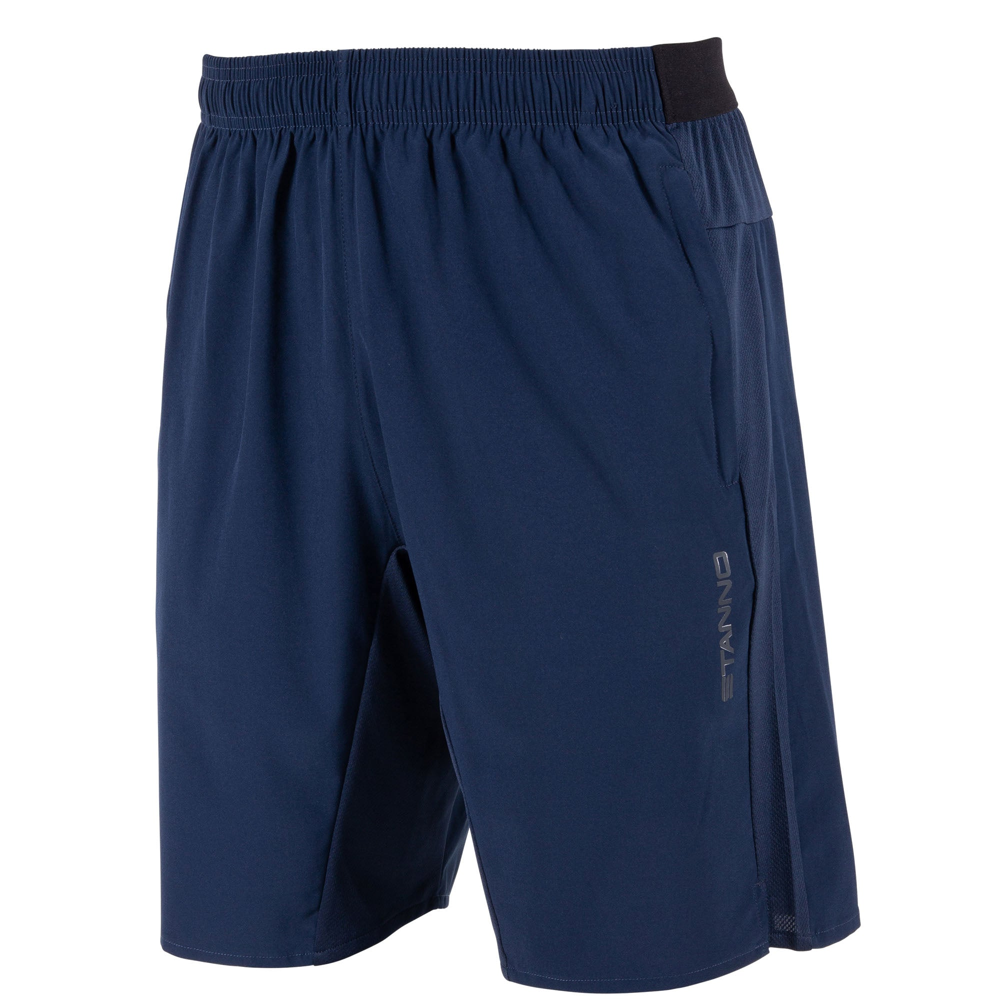 Front of navy Stanno Functionals Woven Short with side panels and subtle Stanno text logo down left leg