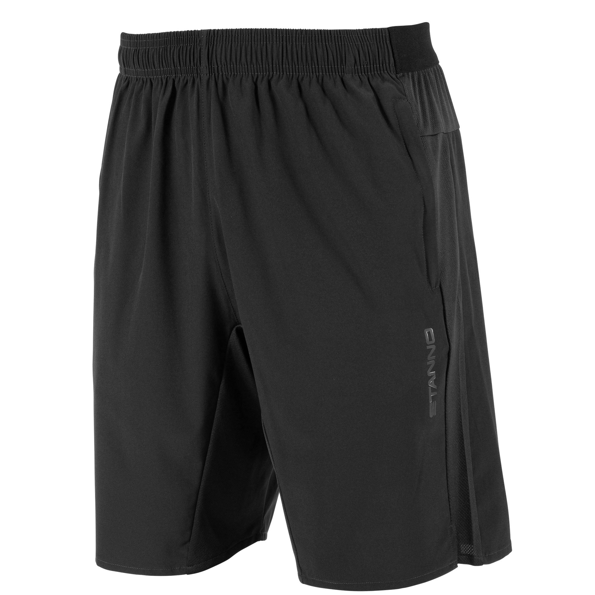 Front view of Stanno Functionals Woven Short in black with side mesh panels and subtle Stanno text logo on left leg.