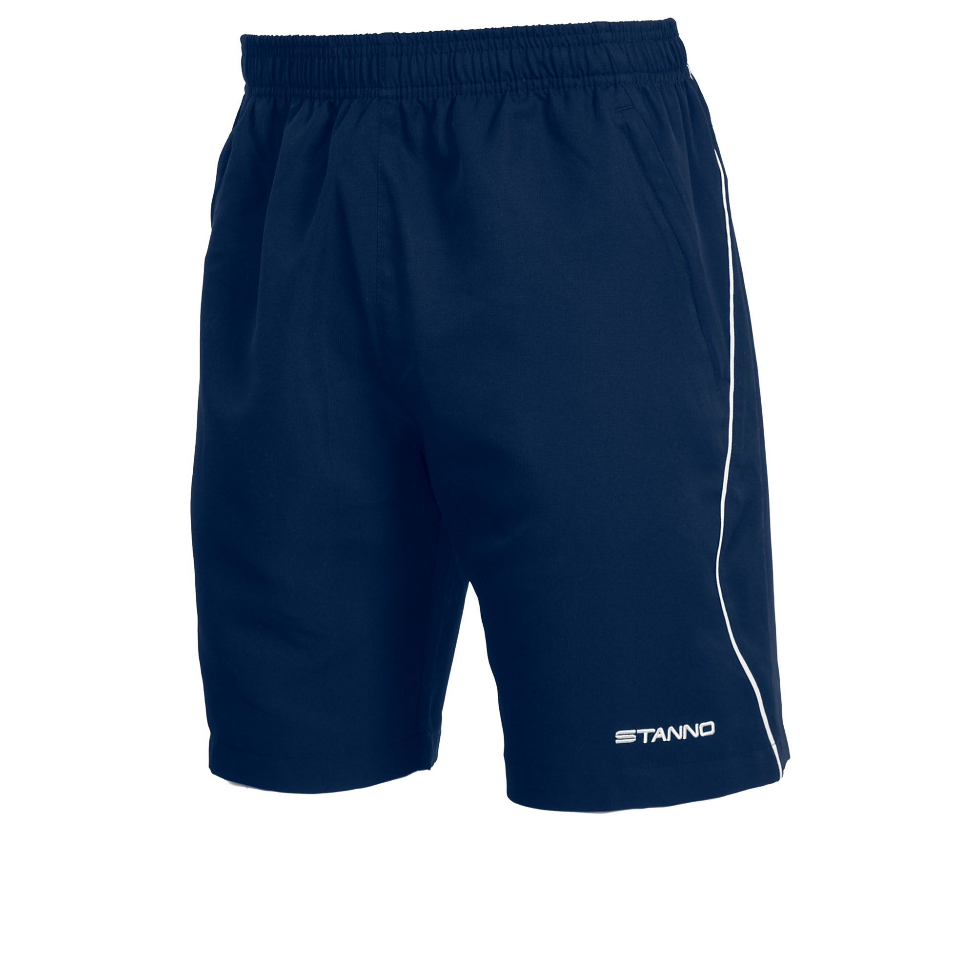 Stanno Centro Micro shorts in navy with white contrast detail down leg and white Stanno text logo