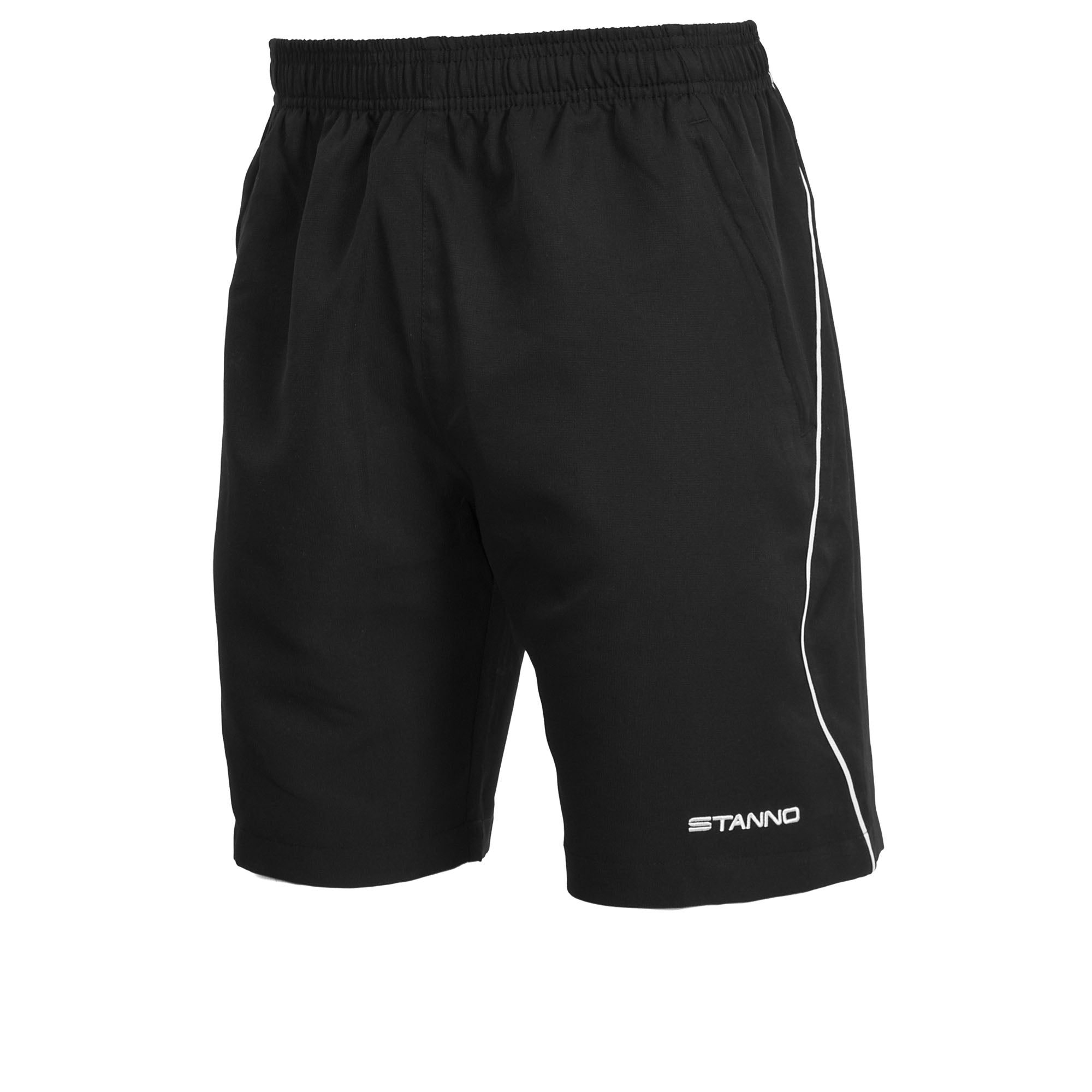 Stanno Centro Micro Shorts in black with white contrast line down the leg and white Stanno text logo at the bottom of the left leg