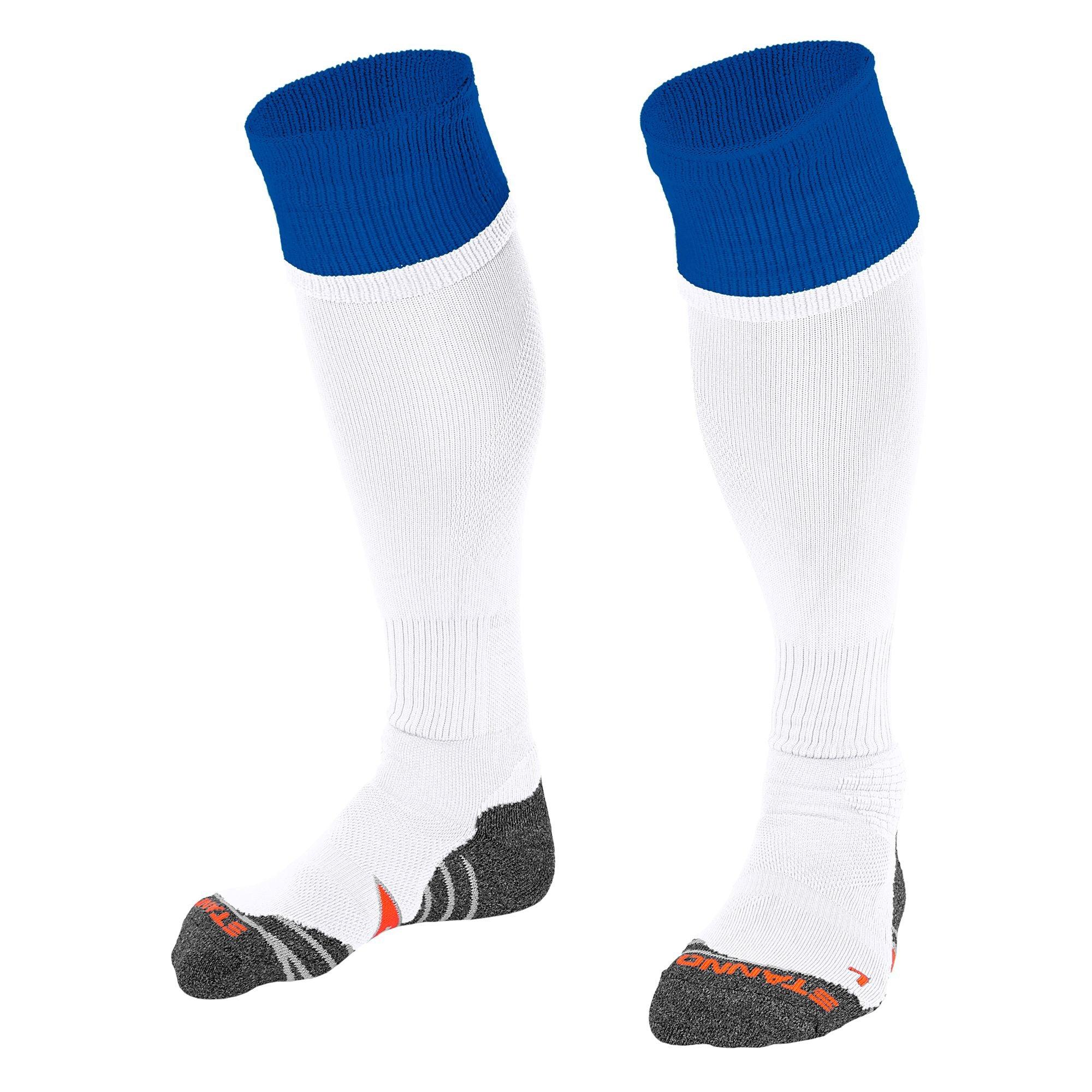 Stanno Combi Sock in white with royal blue contrast tops