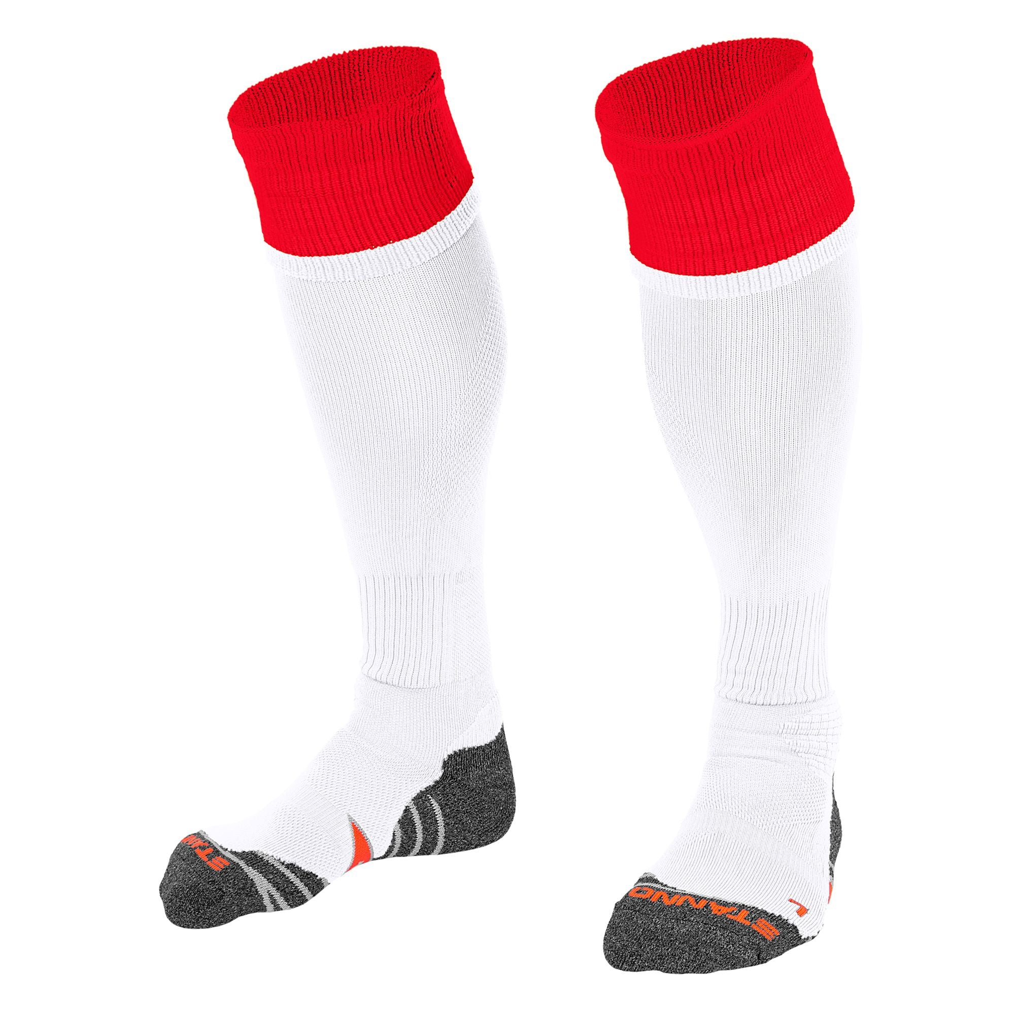 Stanno Combi Sock in white with red contrast tops