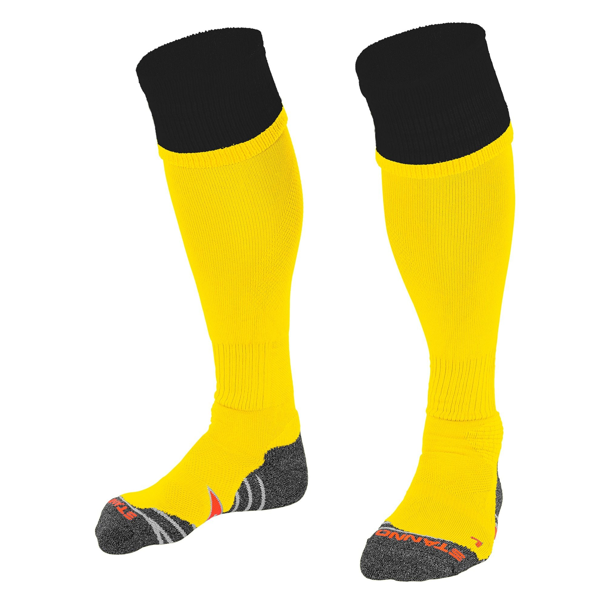Stanno Combi Sock in yellow with black contrast tops