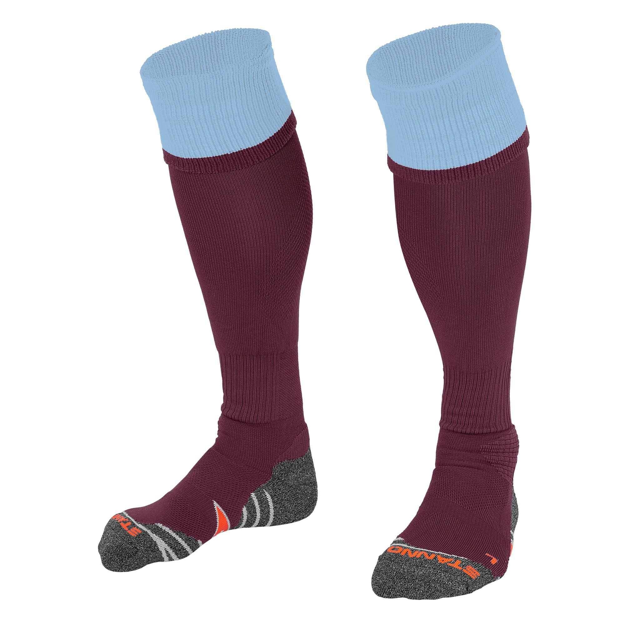 Stanno Combi Sock in maroon with sky blue contrast tops