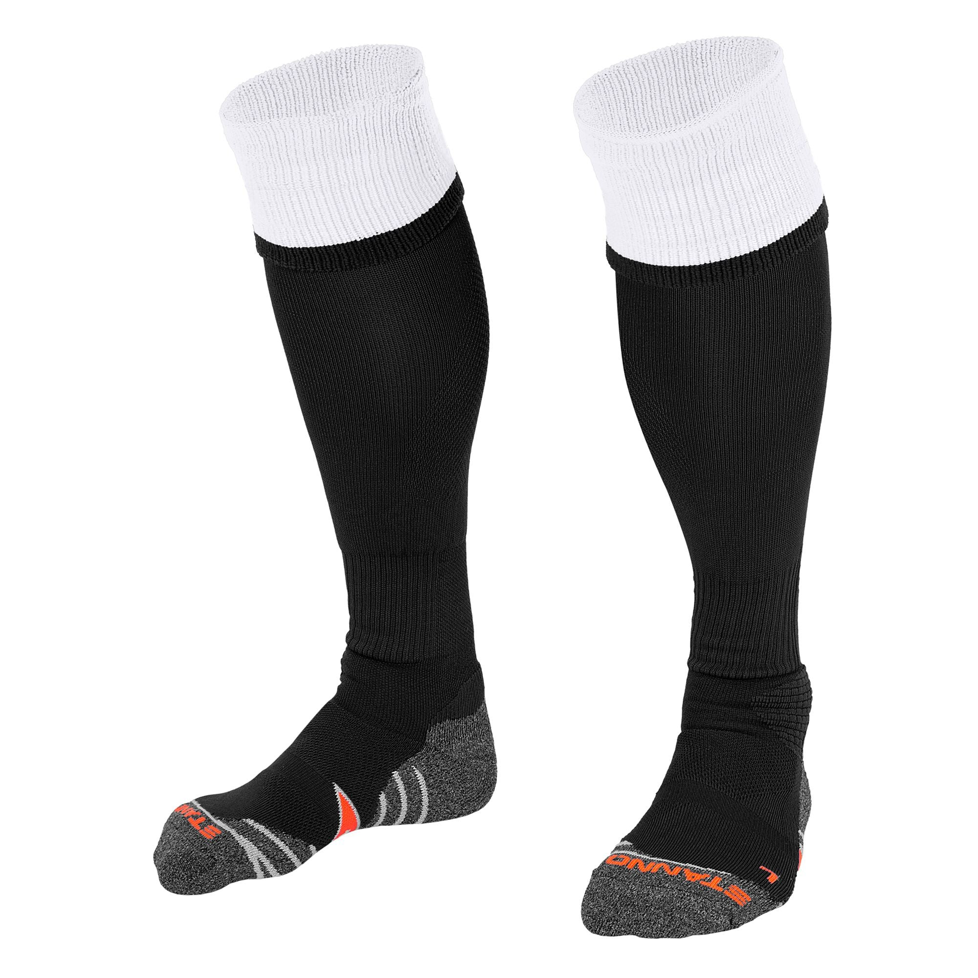 Stanno Combi Sock in black with white contrast tops