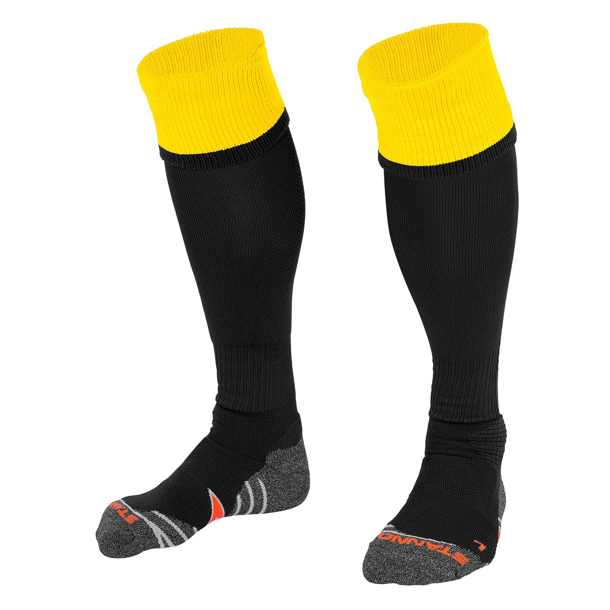 Stanno Combi Sock in black with yellow contrast tops