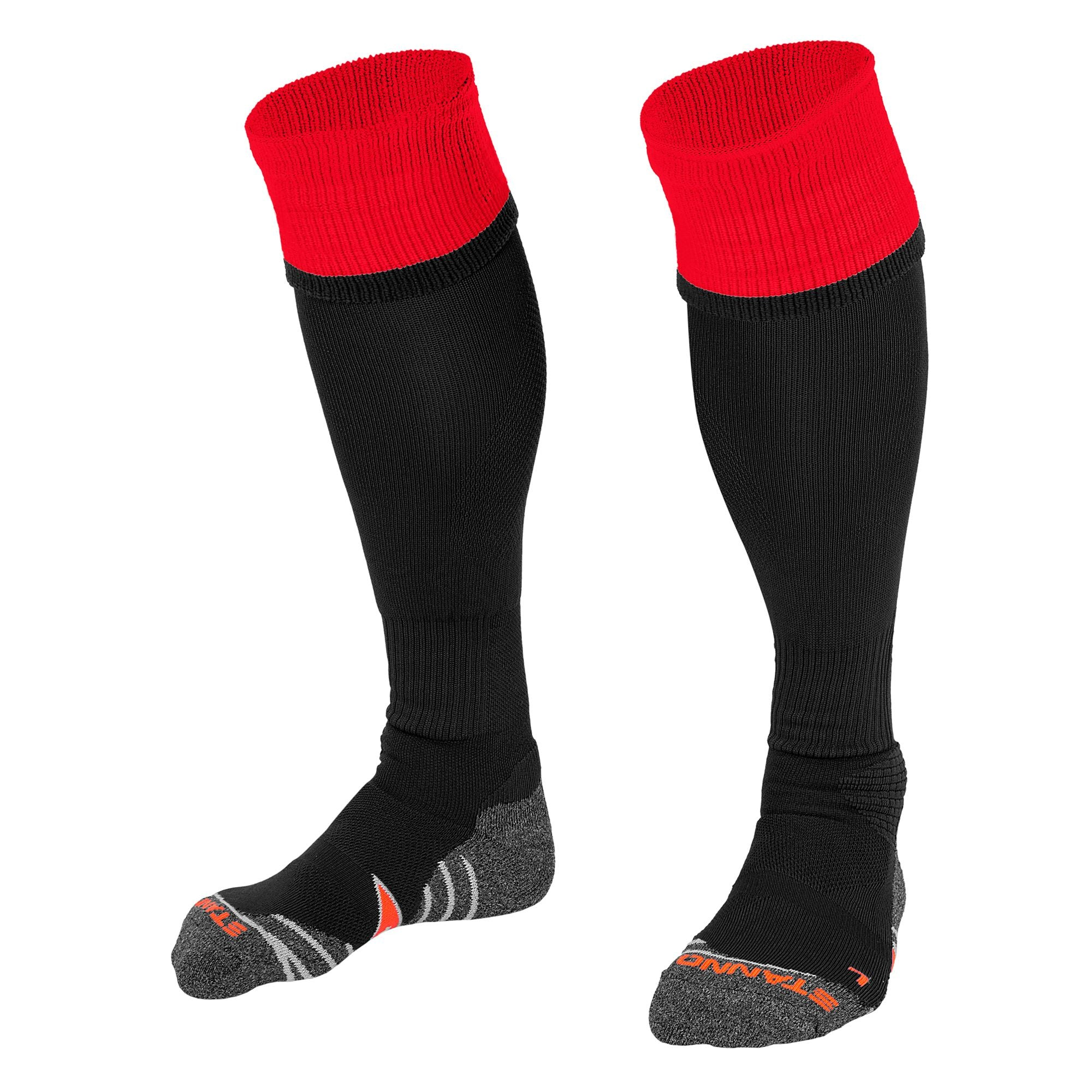 Stanno Combi Socks in black with red contrast tops