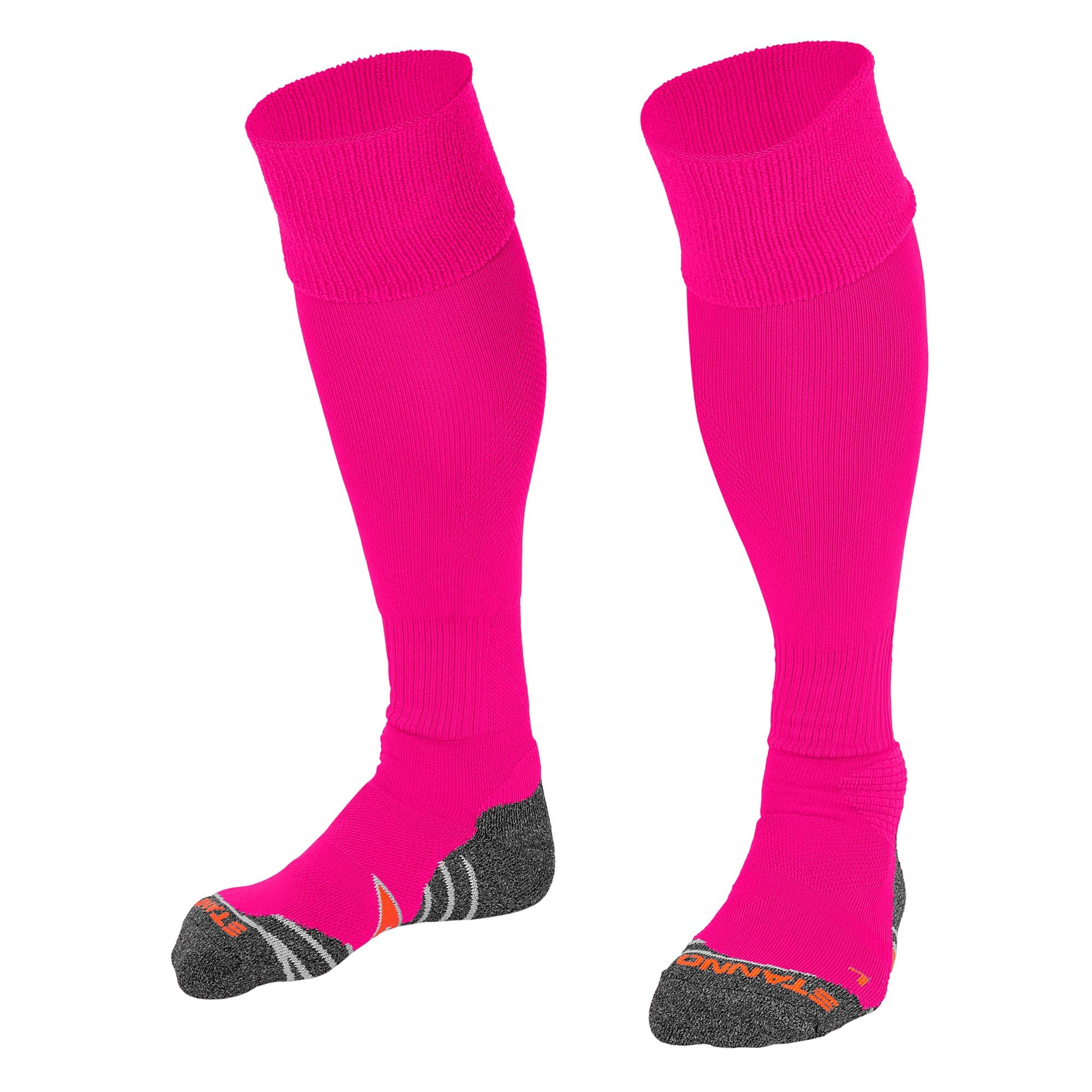 Stanno Uni Sock II football sock in pink with grey, white and orange sole