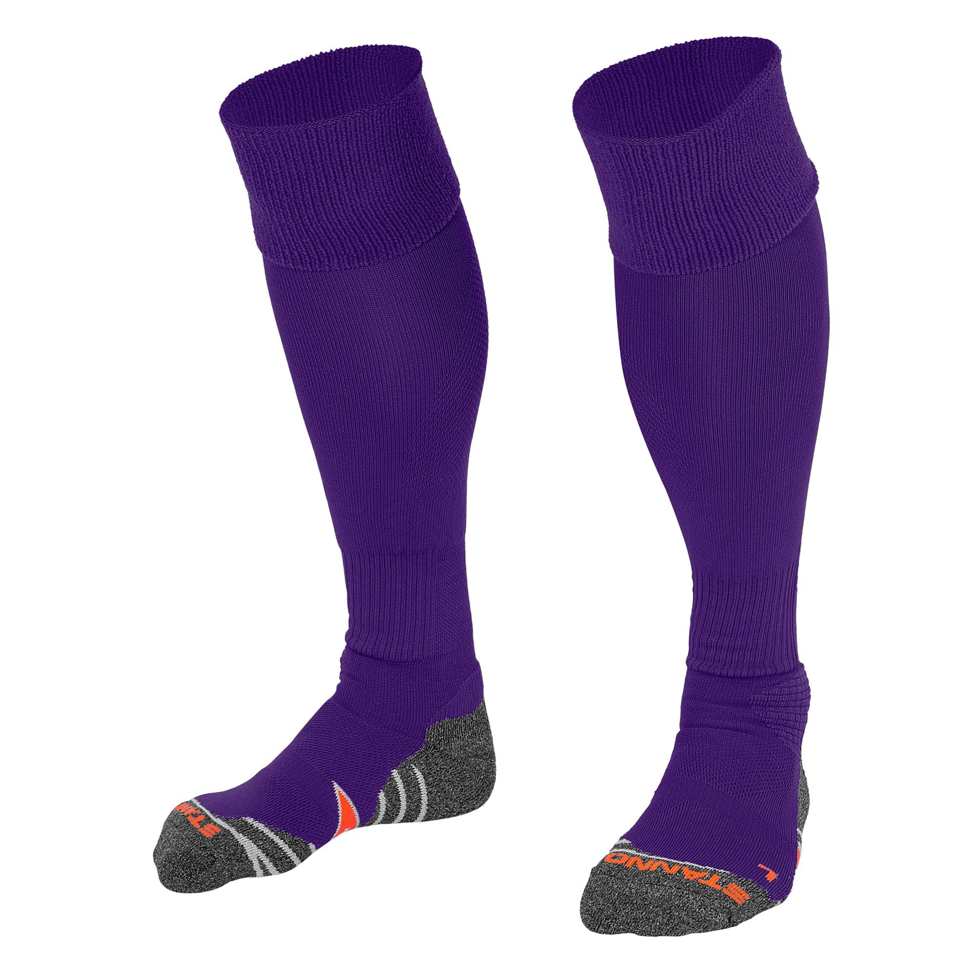 Stanno Uni Sock II football sock in purple with grey, white and orange sole