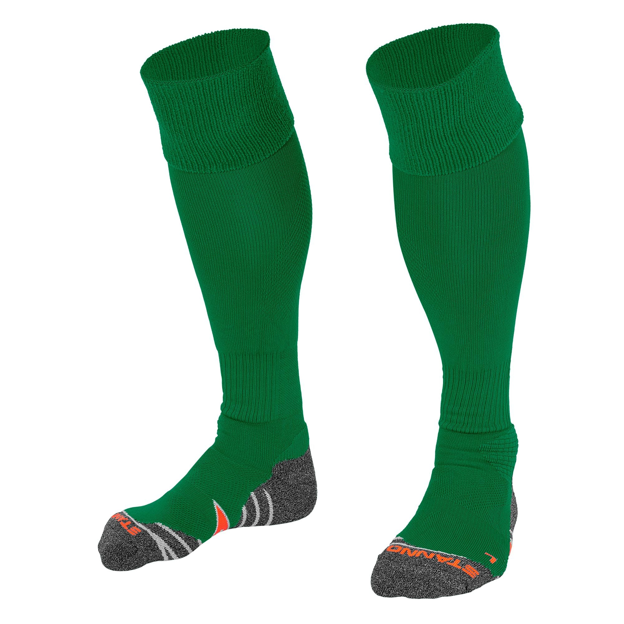 Stanno Uni Sock II football sock in green with grey, white and orange sole