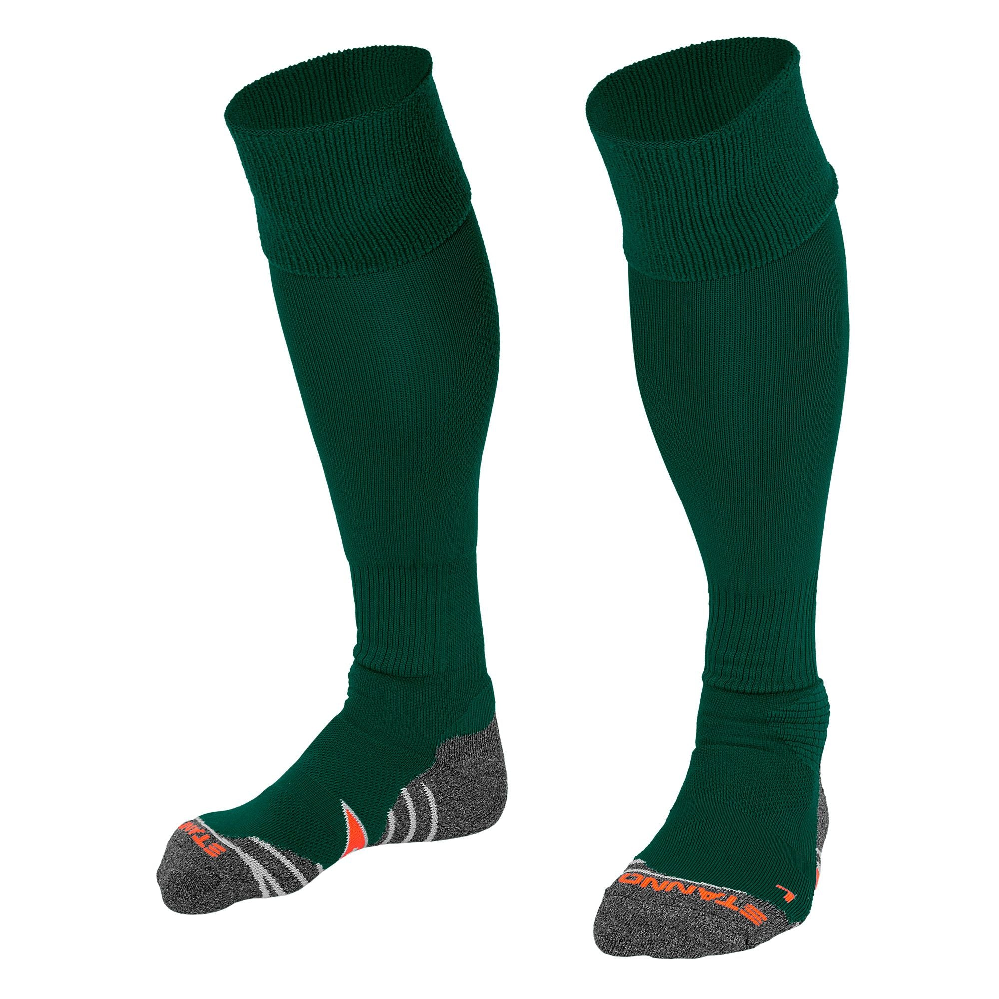 Stanno Uni Sock II football sock in bottle green with grey, white and orange sole