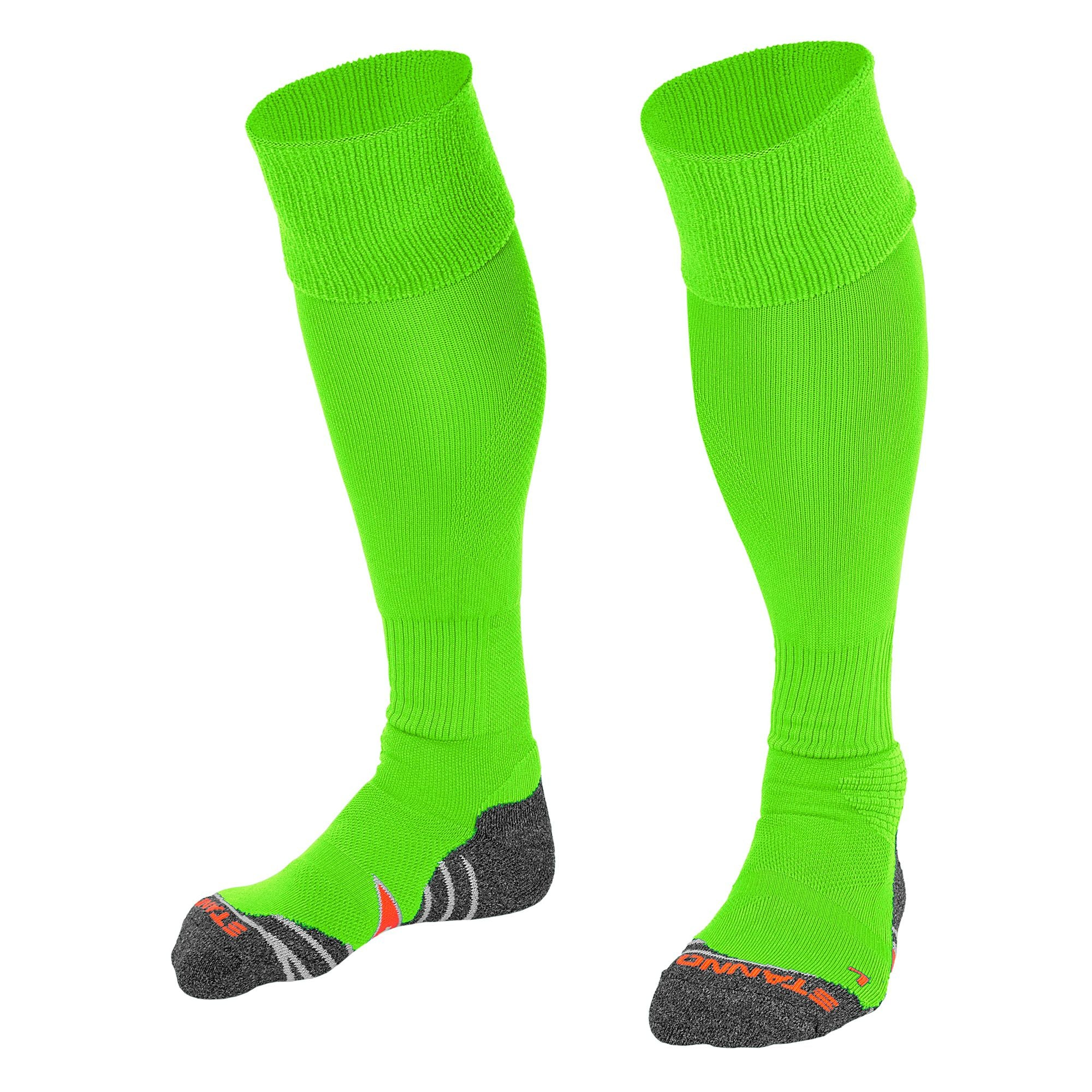 Stanno Uni Sock II football sock in lime green with grey, white and orange sole