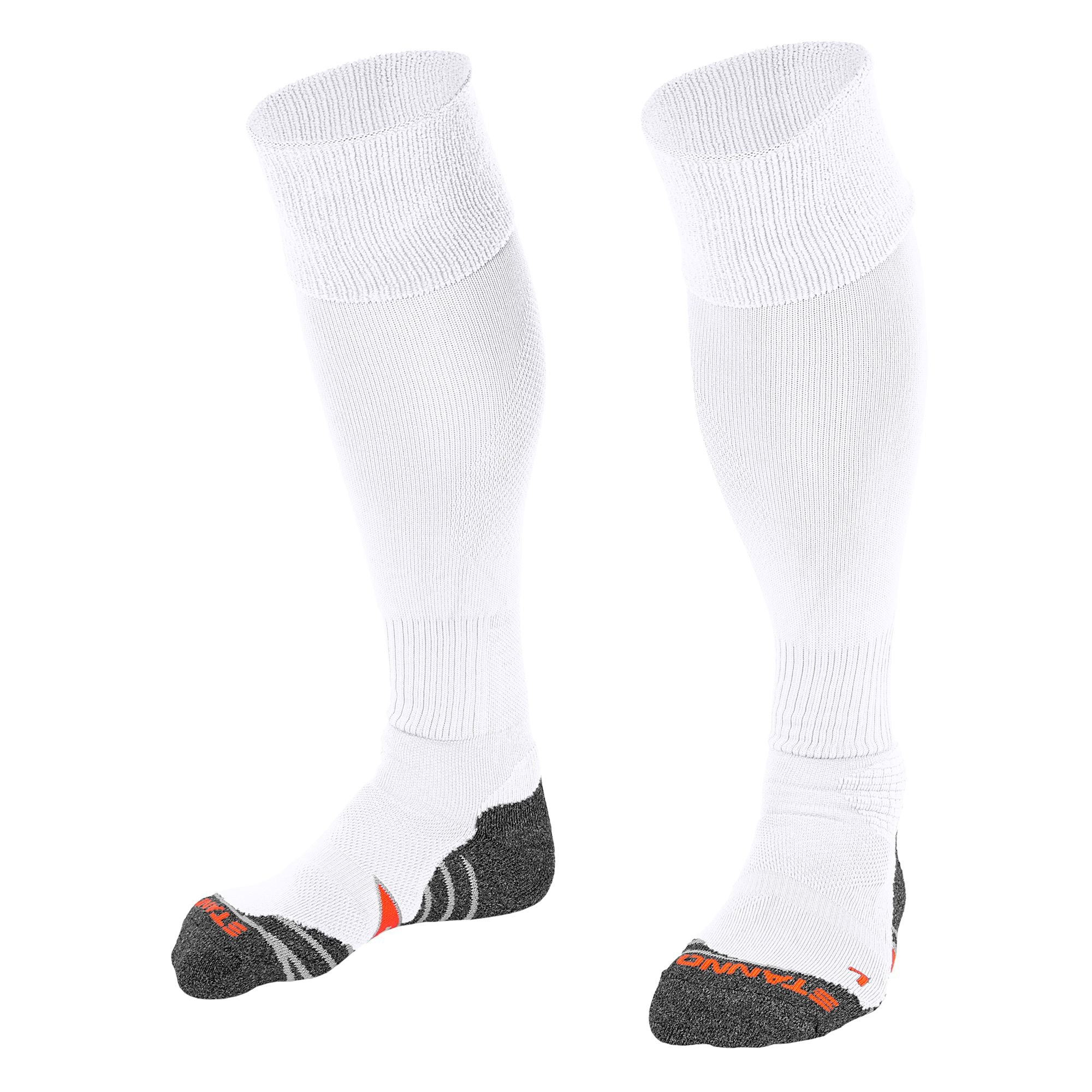 Stanno Uni Sock II football sock in white with grey, white and orange sole