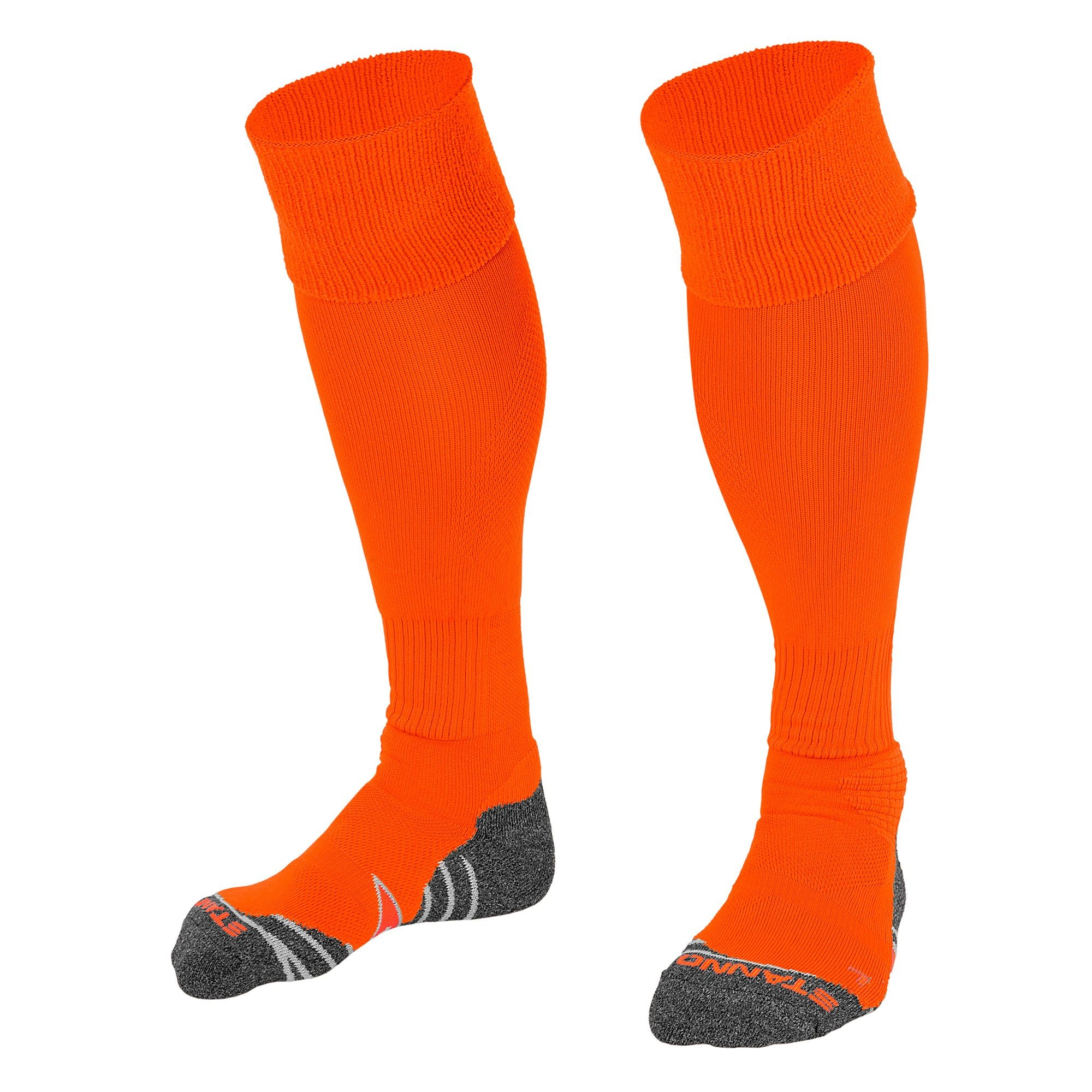 Stanno Uni Sock II football sock in neon orange with grey, white and orange sole