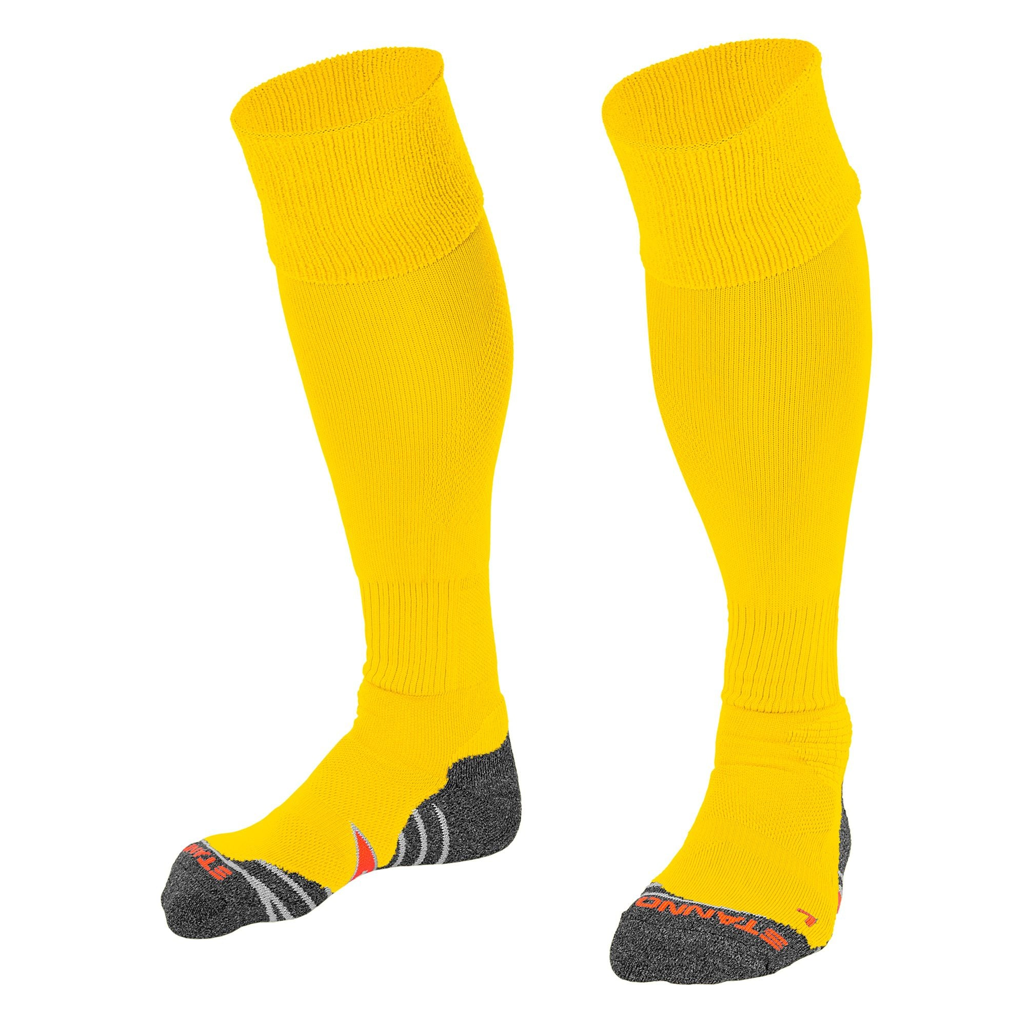 Stanno Uni Sock II football sock in yellow with grey, white and orange sole