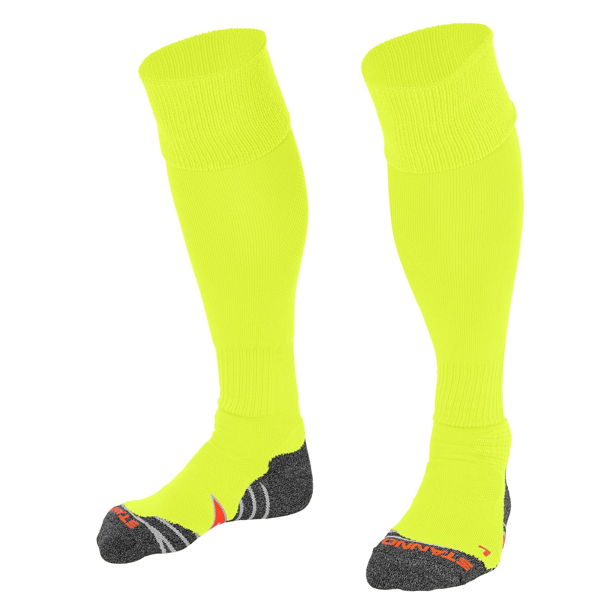 Stanno Uni Sock II football sock in neon yellow with grey, white and orange sole