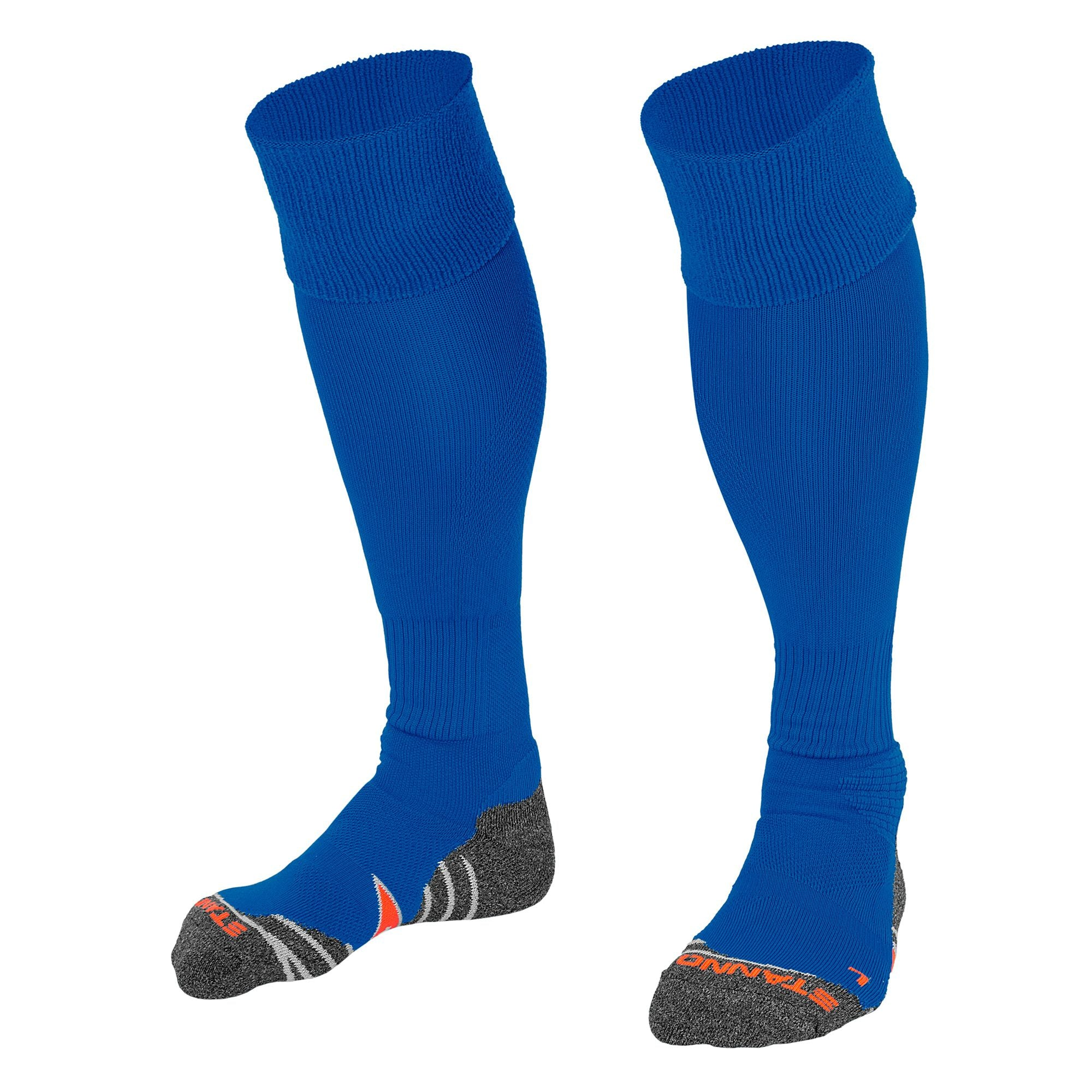 Stanno Uni Sock II football sock in royal blue with grey, white and orange sole