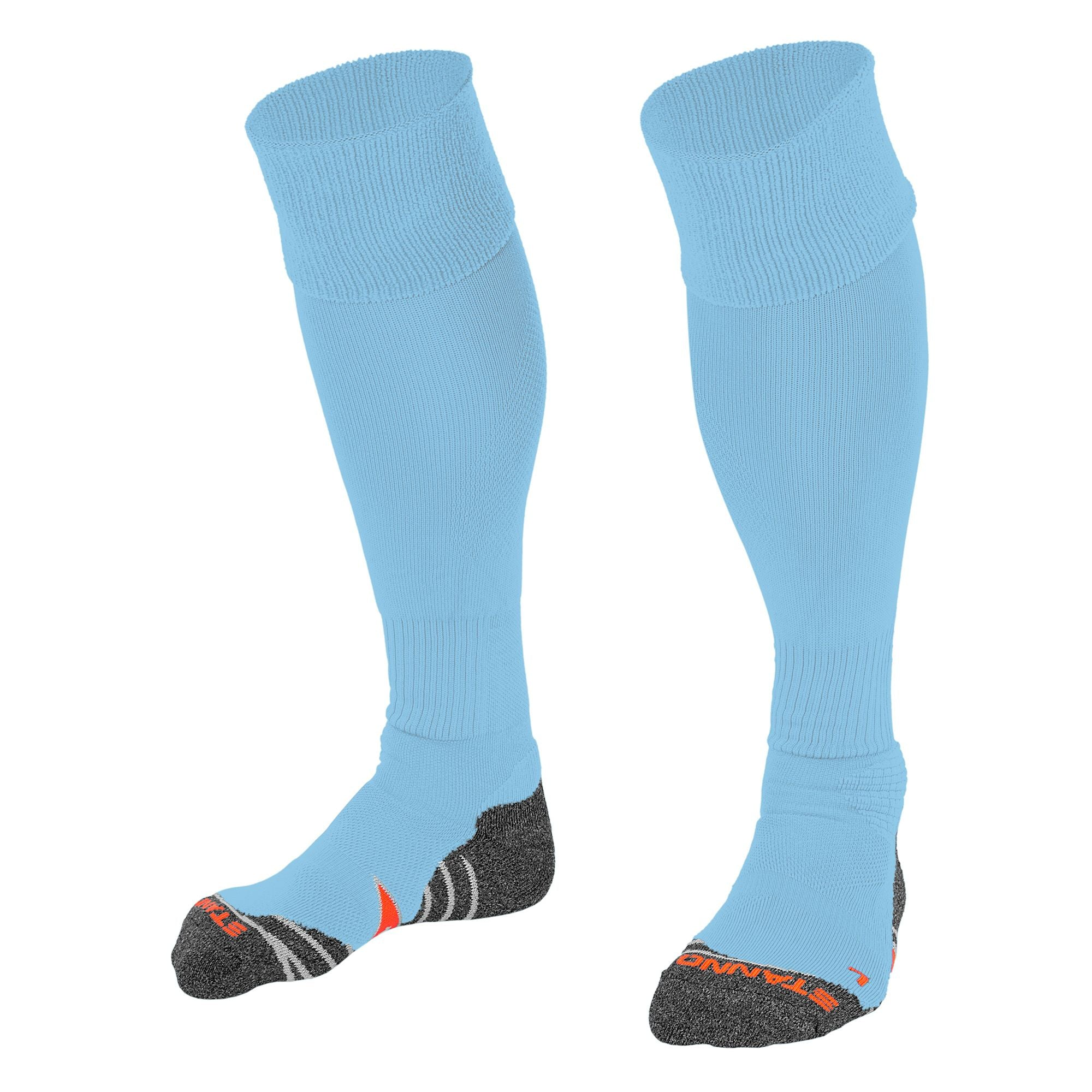 Stanno Uni Sock II football sock in sky blue with grey, white and orange sole