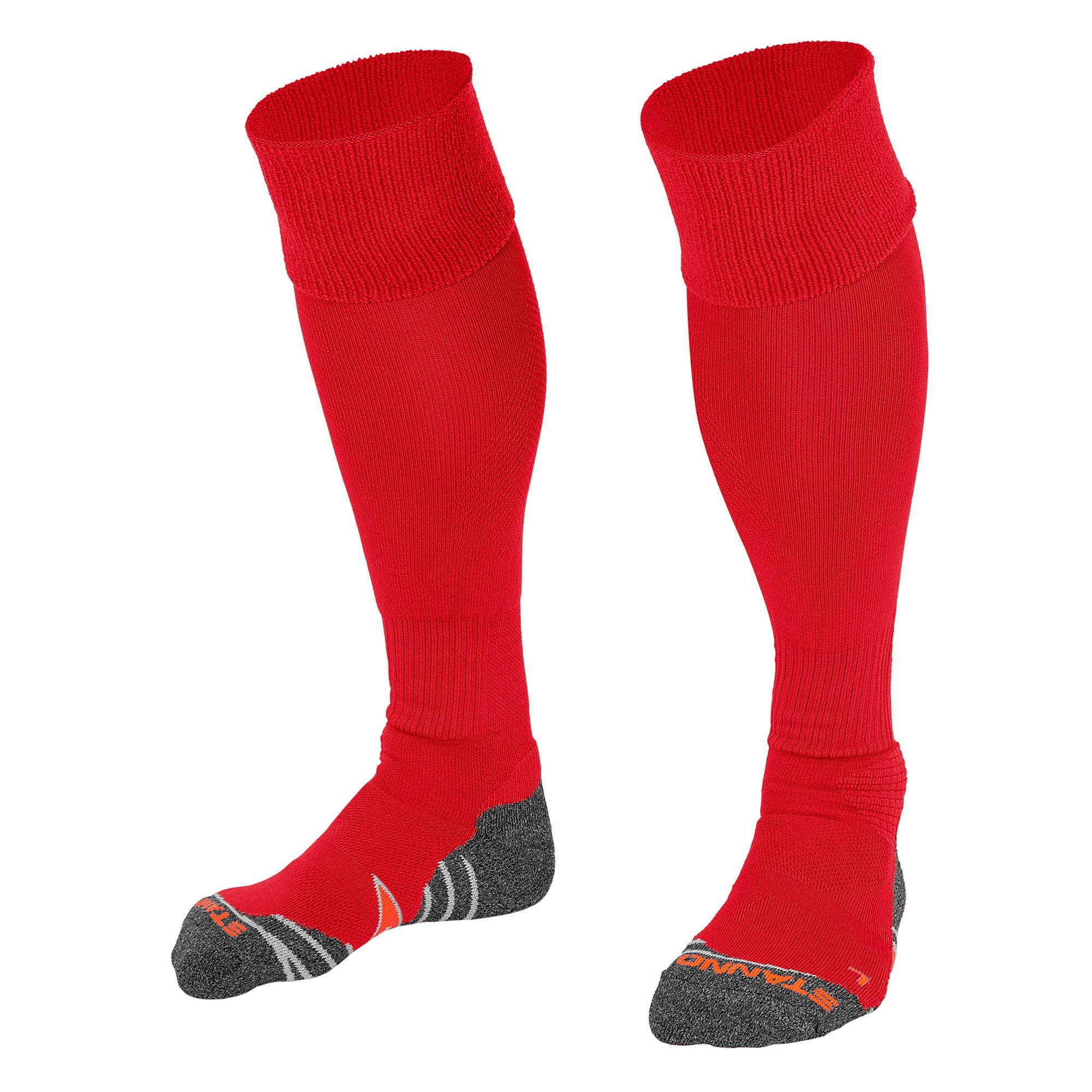 Stanno Uni Sock II football sock in red with grey, white and orange sole