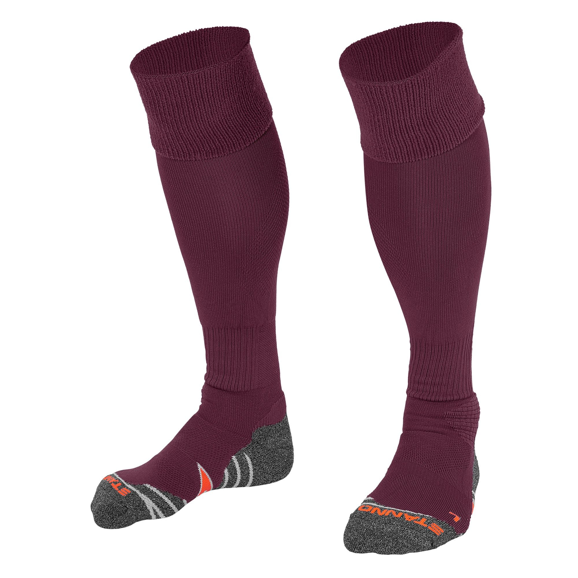 Stanno Uni Sock II football sock in maroon with grey, white and orange sole
