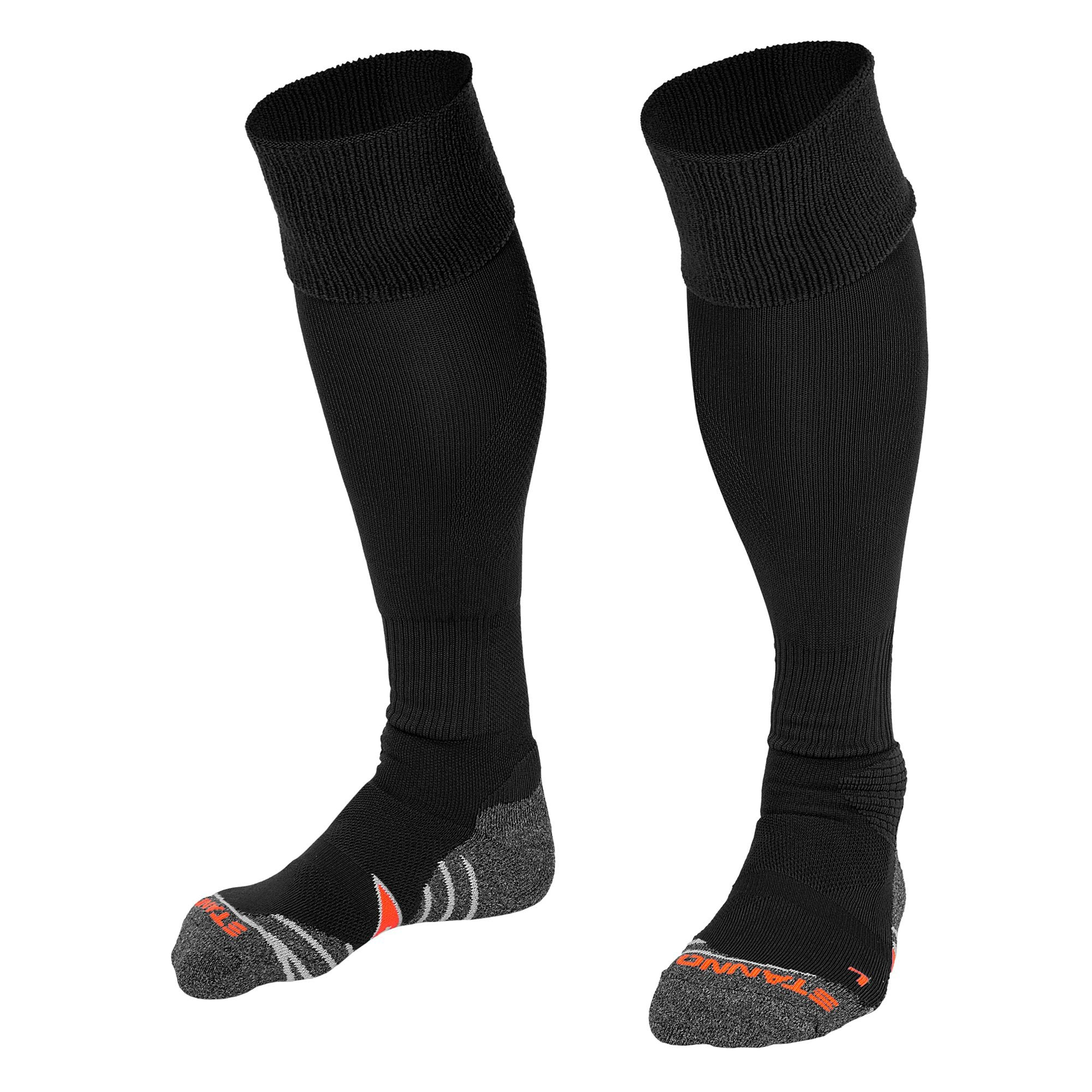 Stanno Uni Sock II football sock in black with grey, white and orange sole