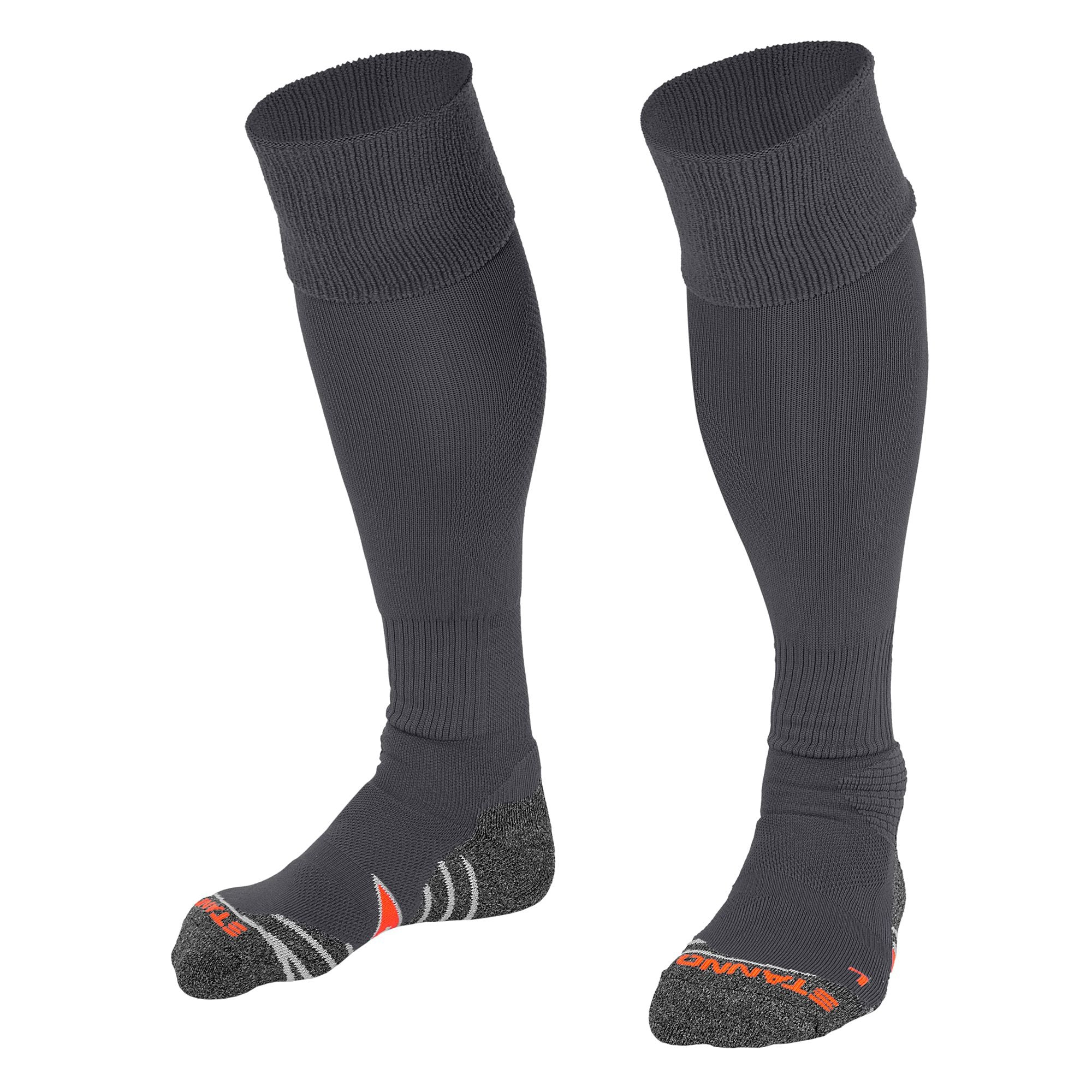 Stanno Uni Sock II football sock in anthracite with grey, white and orange sole