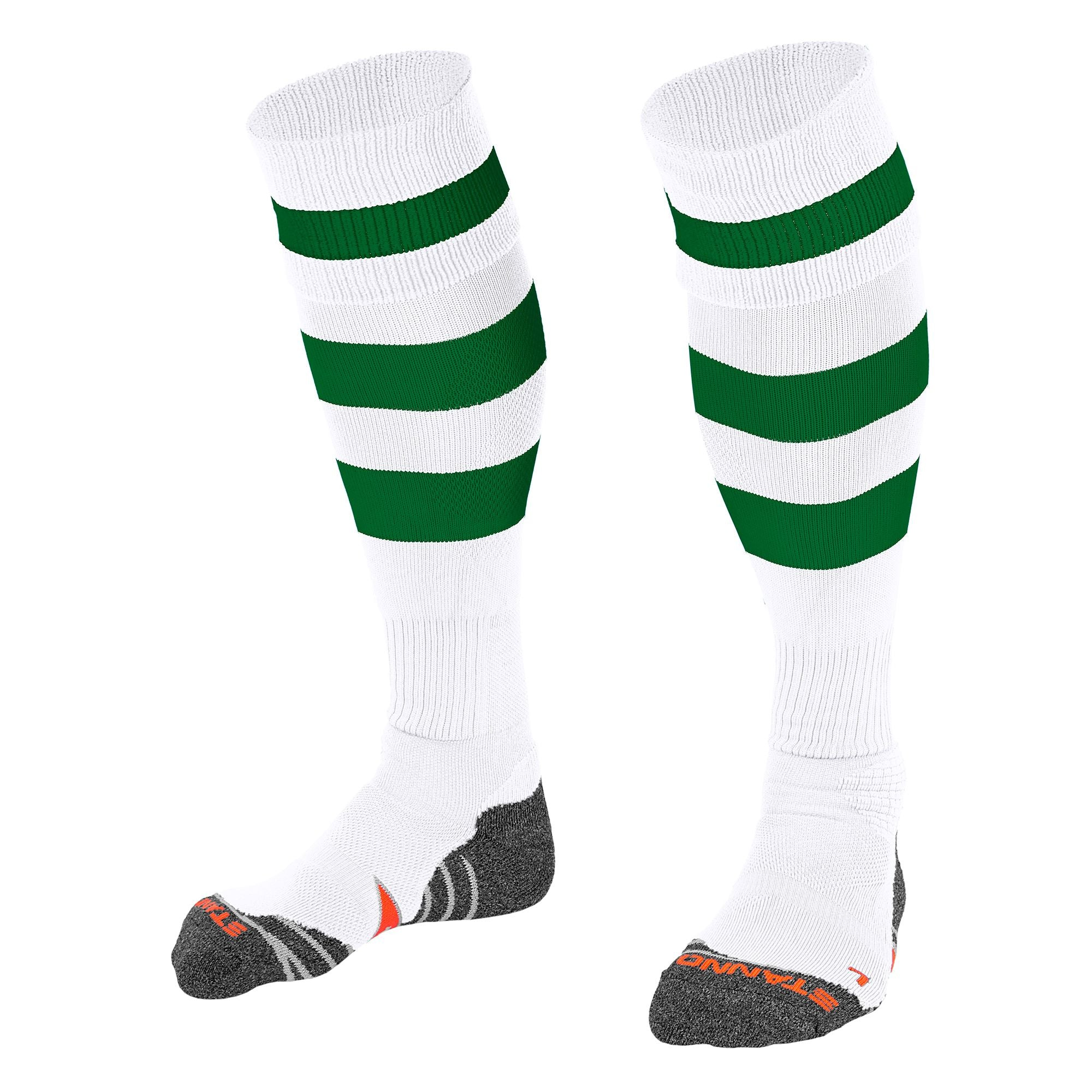 Stanno Original sock in white with 2 thick horizontal green stripes through the centre of the sock and one on the turnover. d