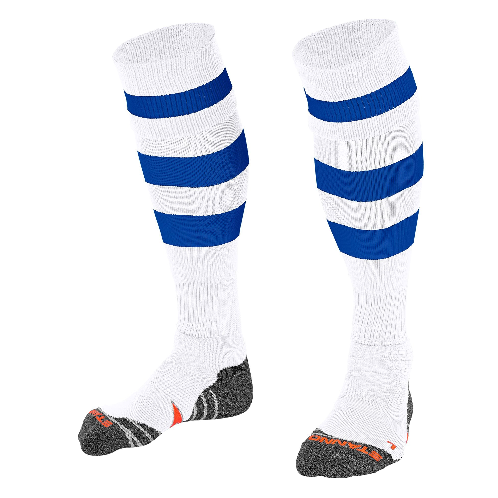 Stanno Original sock in white with 2 thick horizontal royal blue stripes through the centre of the sock and one on the turnover. d