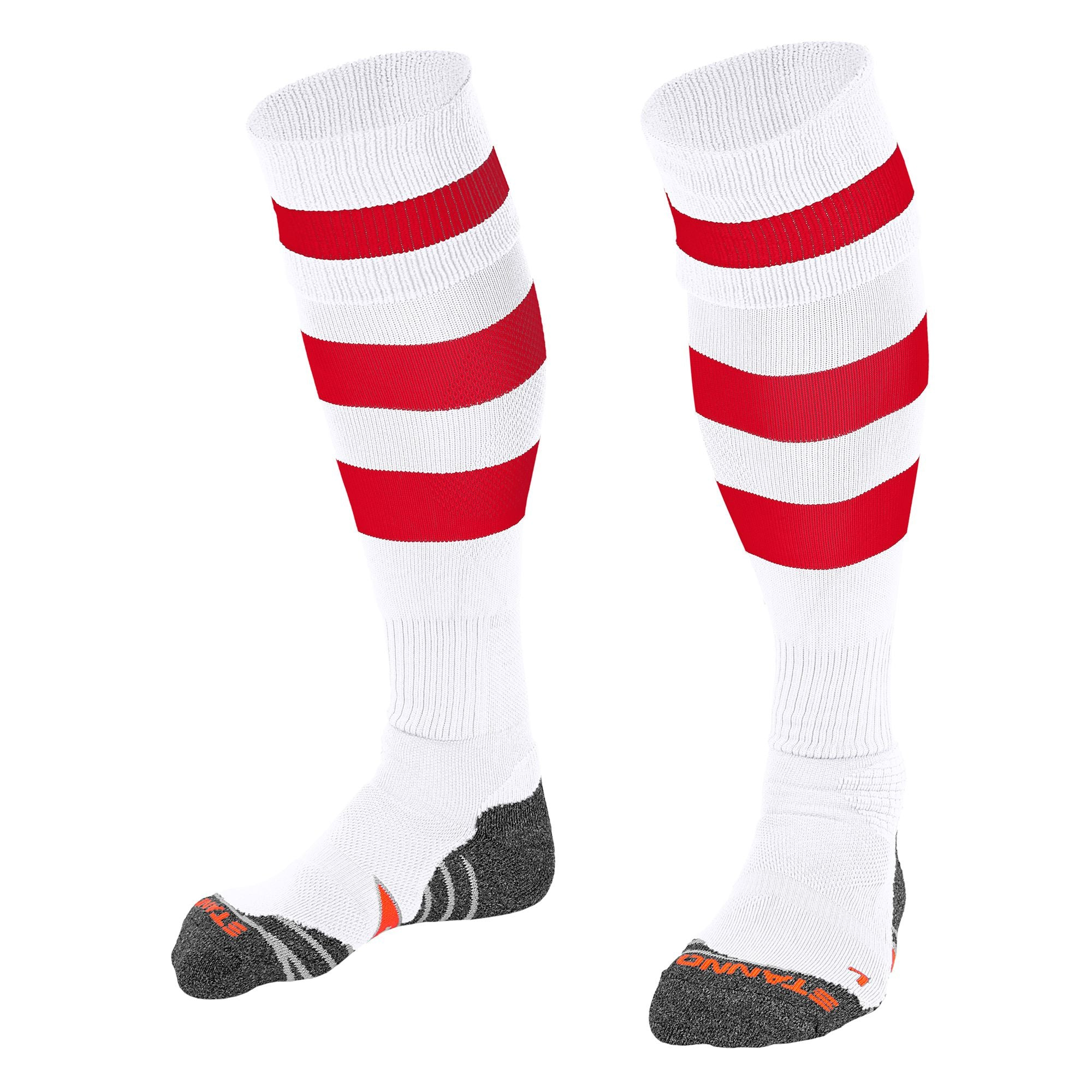 Stanno Original sock in white with 2 thick horizontal red stripes through the centre of the sock and one on the turnover. d