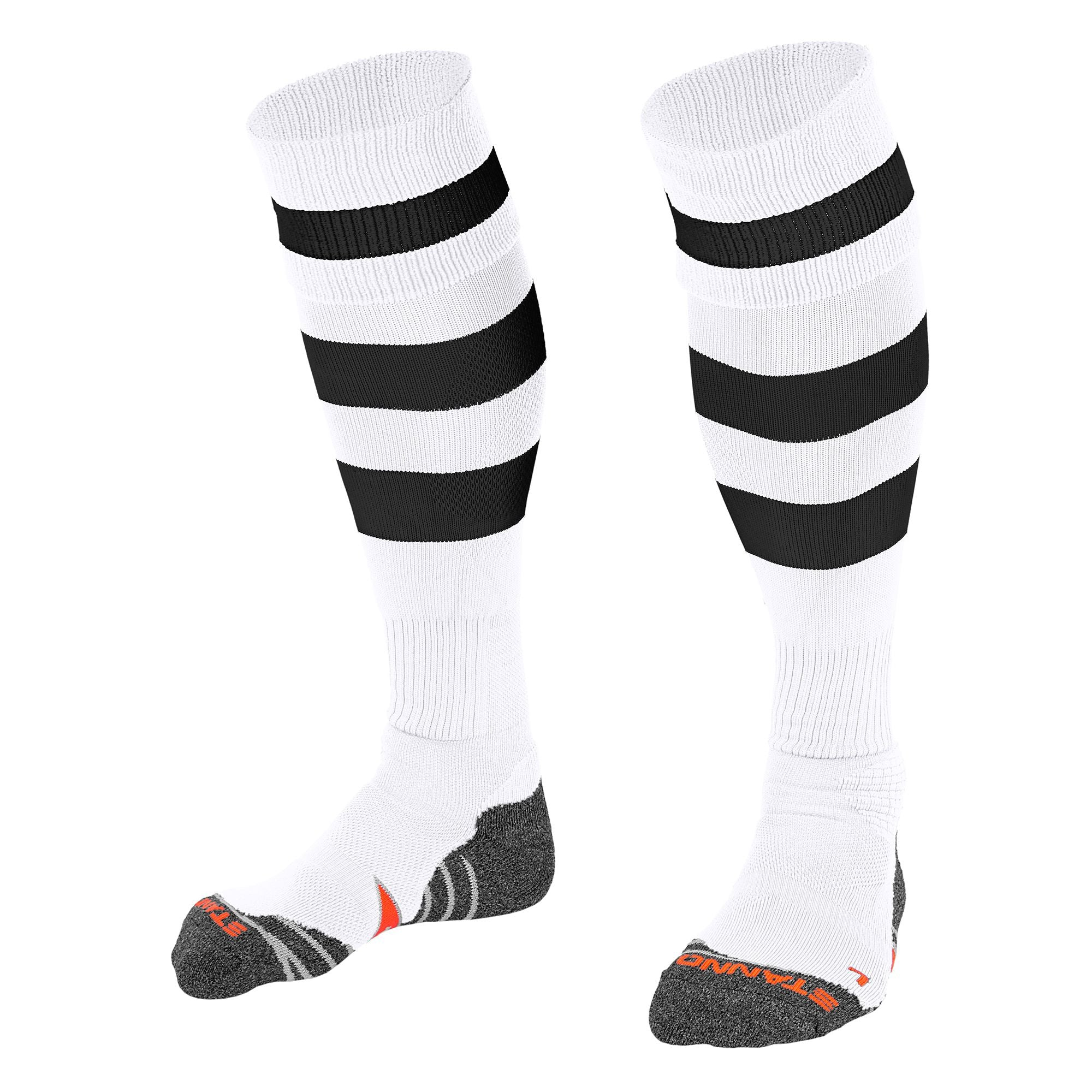 Stanno Original sock in white with 2 thick horizontal black stripes through the centre of the sock and one on the turnover. d