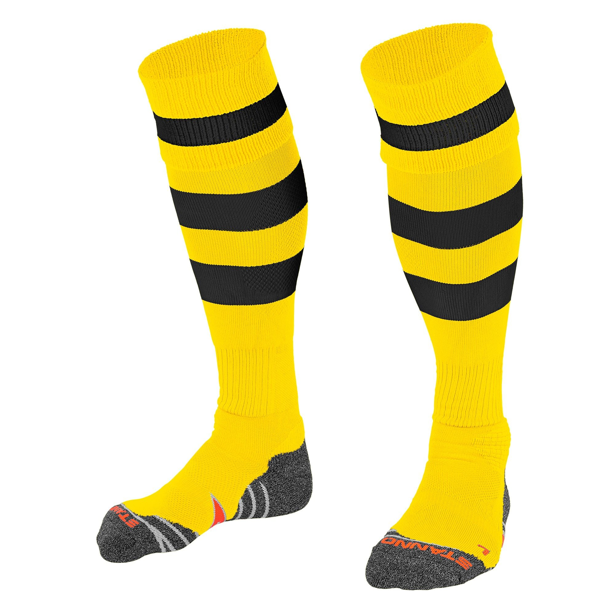 Stanno Original sock in yellow with 2 thick horizontal black stripes through the centre of the sock and one on the turnover. d