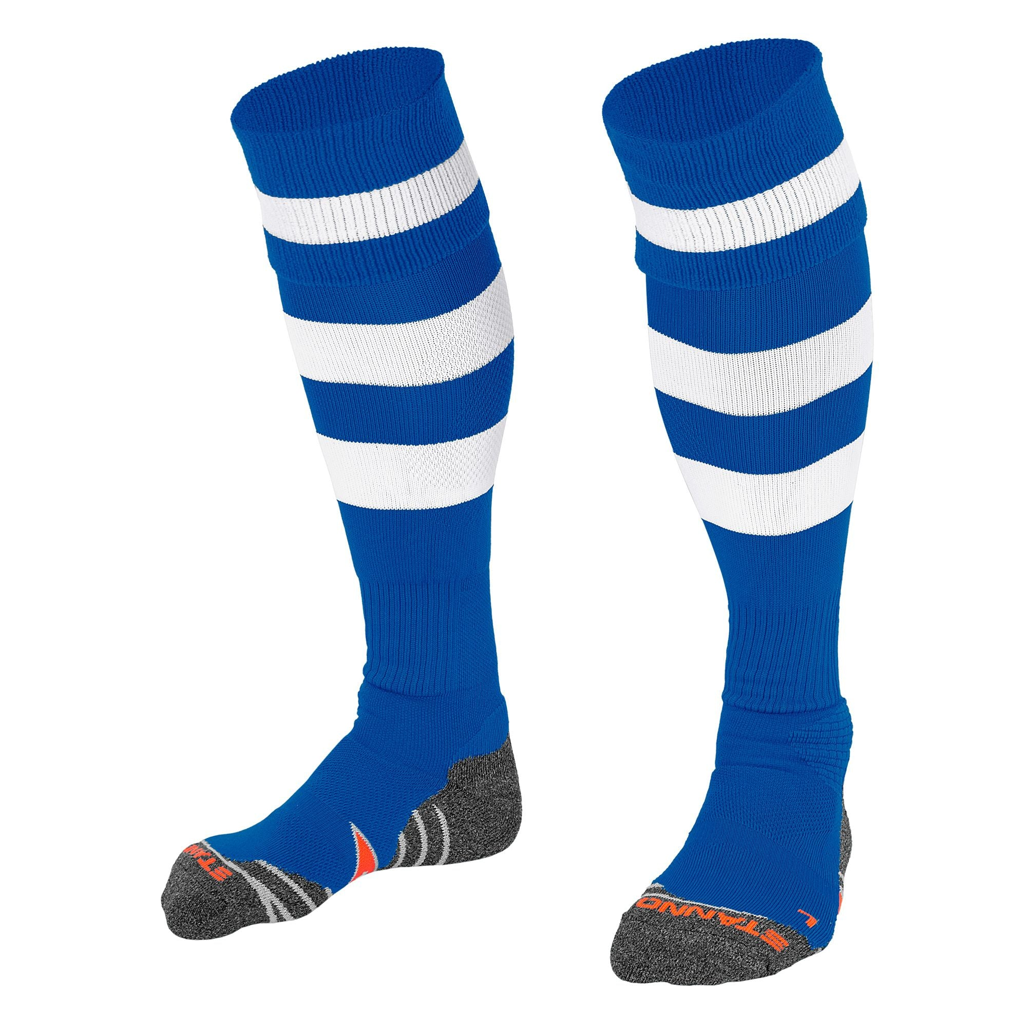 Stanno Original sock in royal blue with 2 thick horizontal white stripes through the centre of the sock and one on the turnover. d