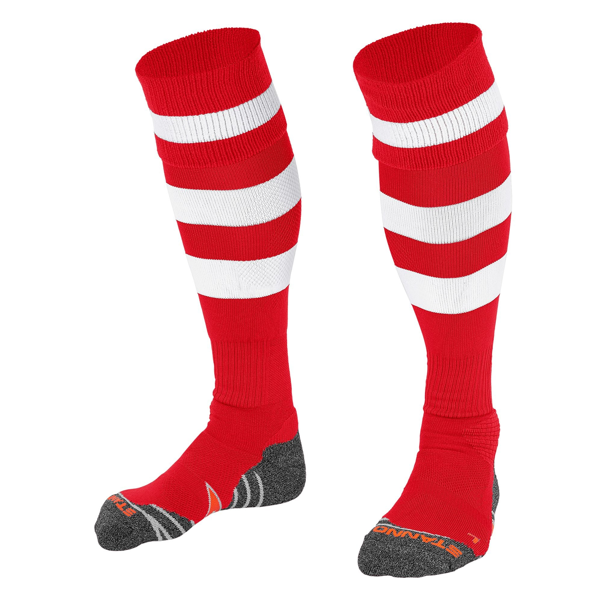 Stanno Original sock in red with 2 thick horizontal white stripes through the centre of the sock and one on the turnover. d