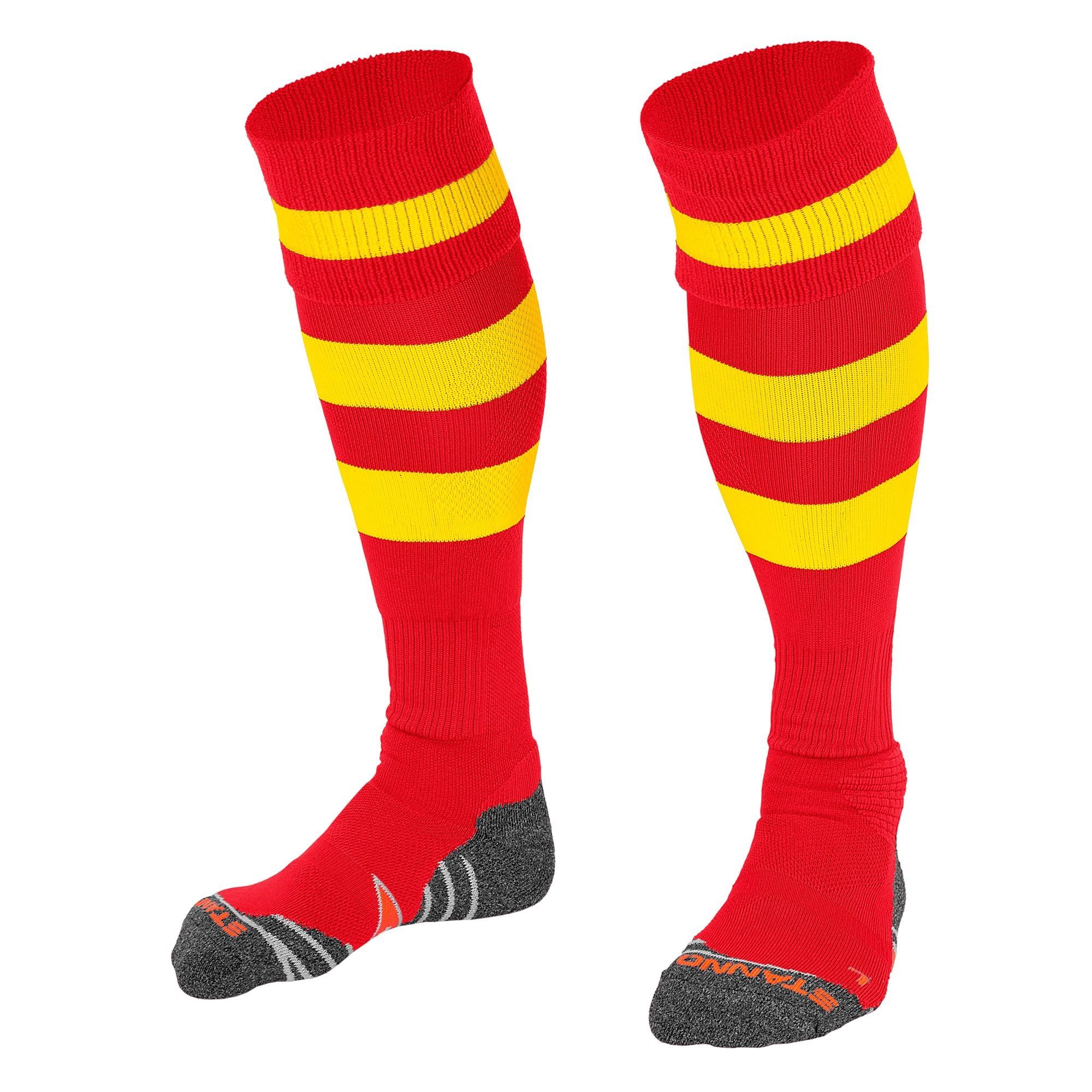 Stanno Original sock in red with 2 thick horizontal yellow stripes through the centre of the sock and one on the turnover. d