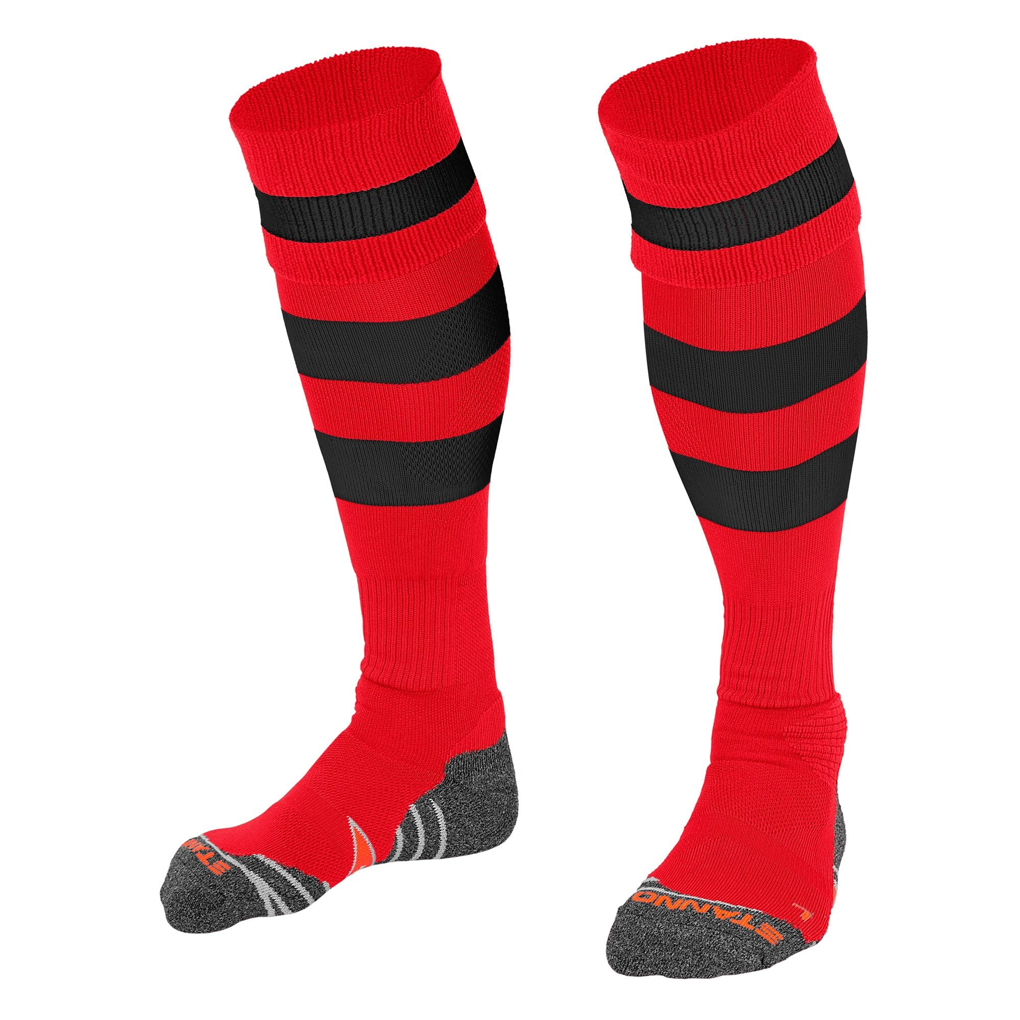 Stanno Original sock in red with 2 thick horizontal black stripes through the centre of the sock and one on the turnover. d