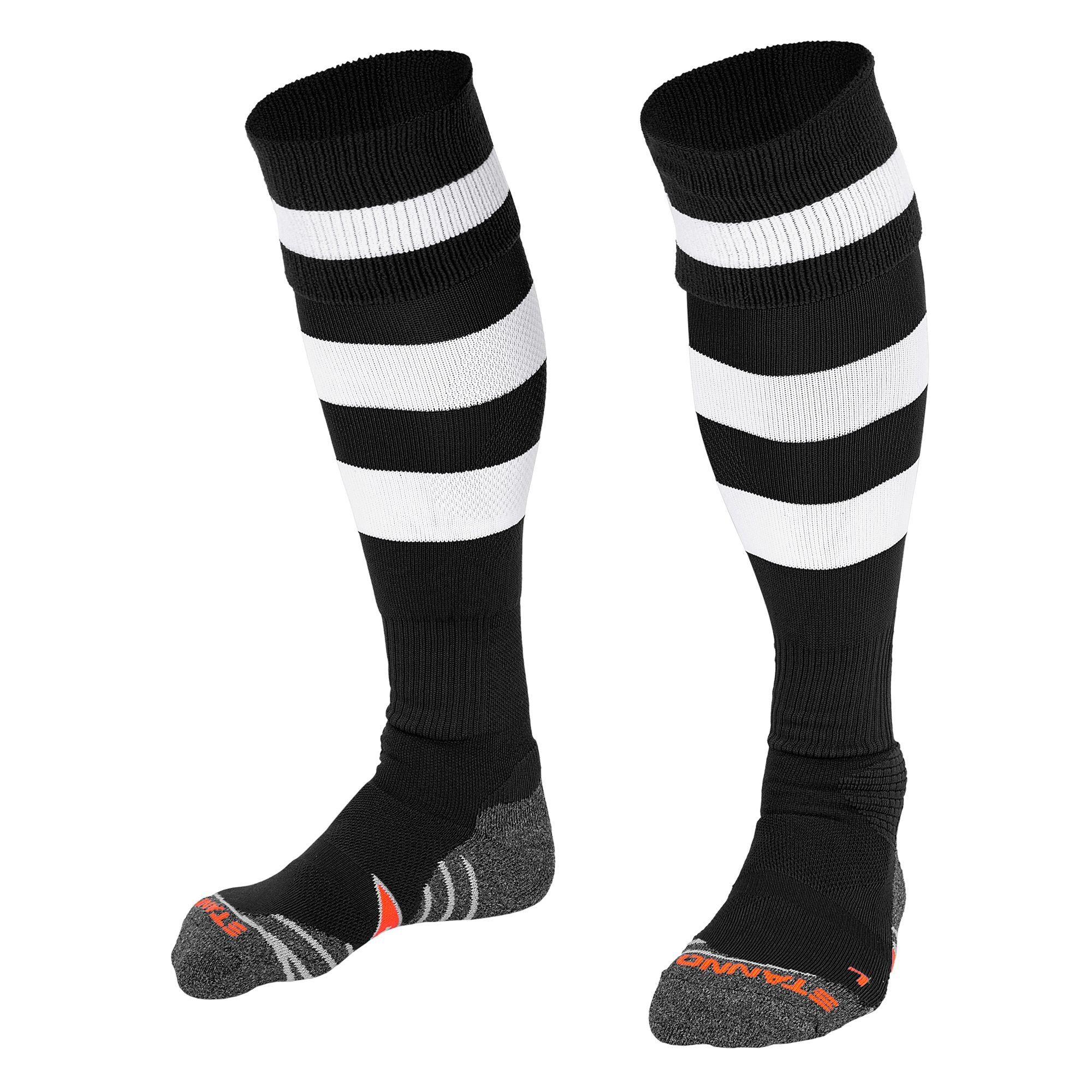 Stanno Original sock in black with 2 thick horizontal white stripes through the centre of the sock and one on the turnover. d