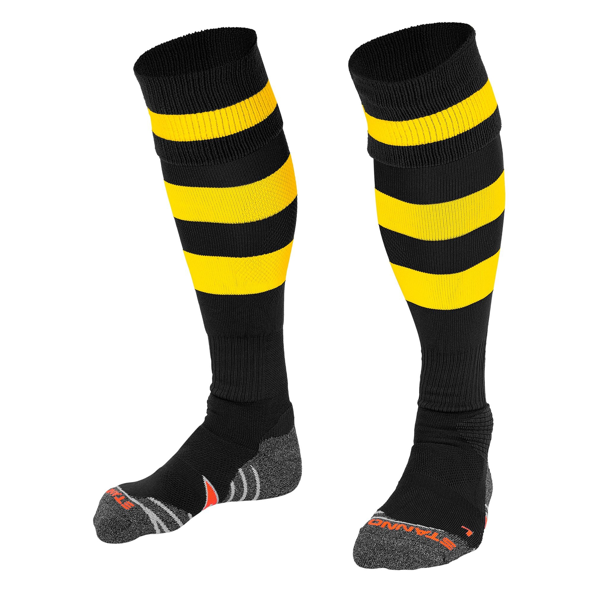 Stanno Original sock in black with 2 thick horizontal yellow stripes through the centre of the sock and one on the turnover. d