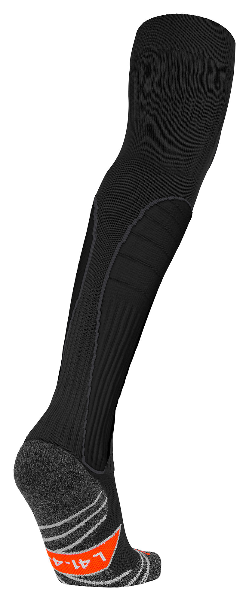 c98e983c220 Stanno Black high Impact Goalkeeper sock showing raised foot and sole