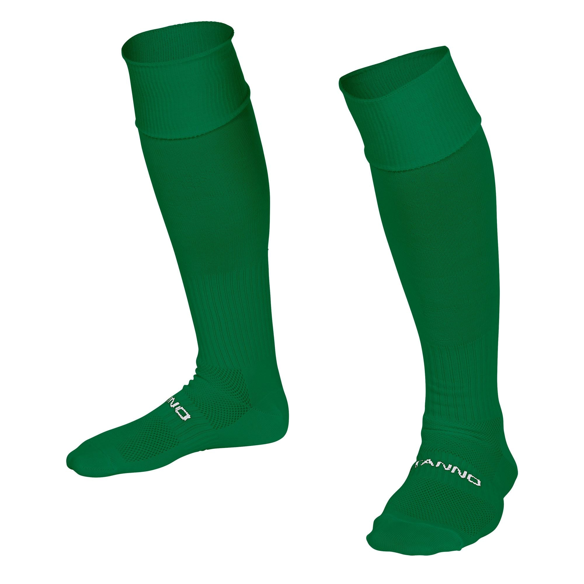 Stanno Park sock in green with Stanno text across the top of the foot.