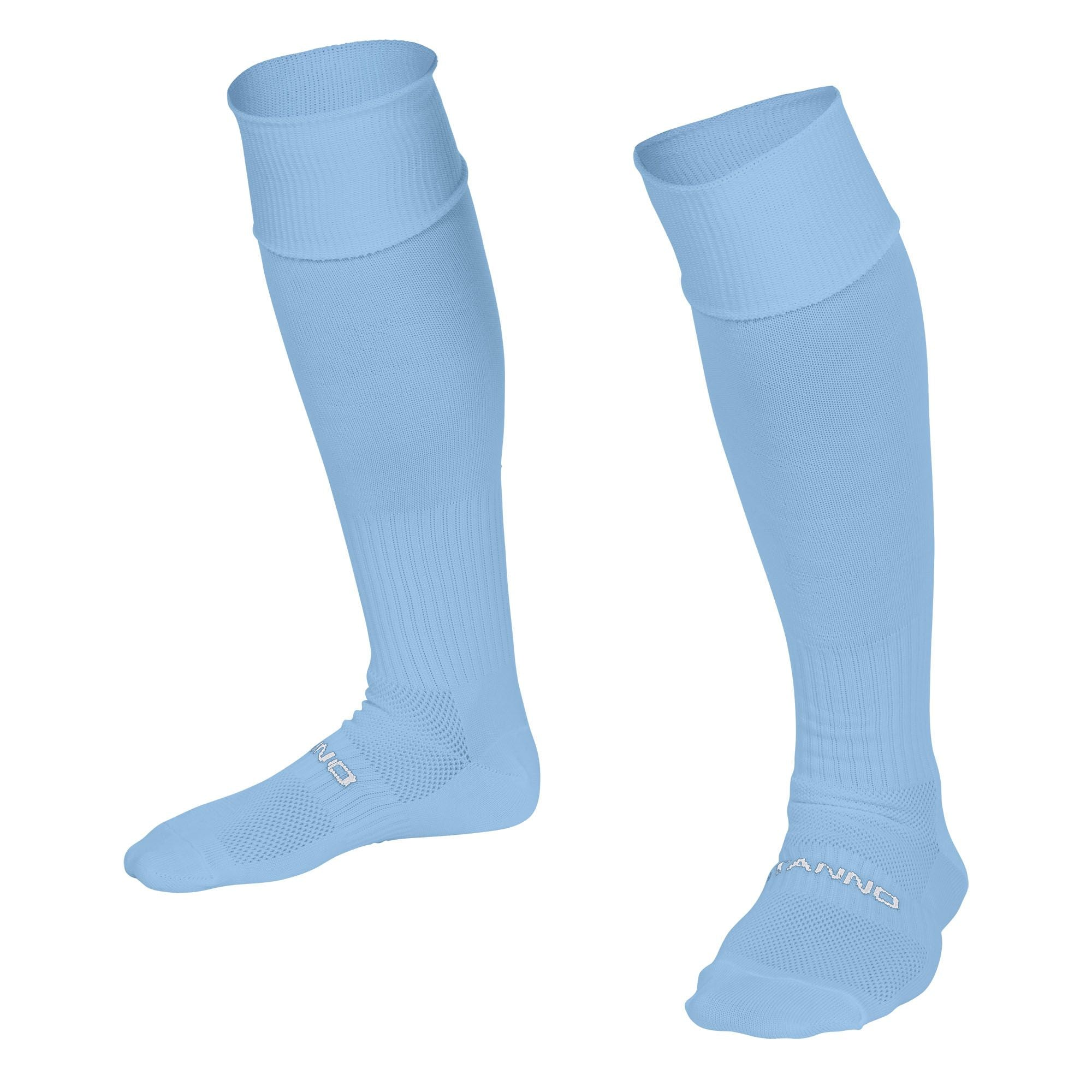 Stanno Park sock in sky blue with Stanno text across the top of the foot.