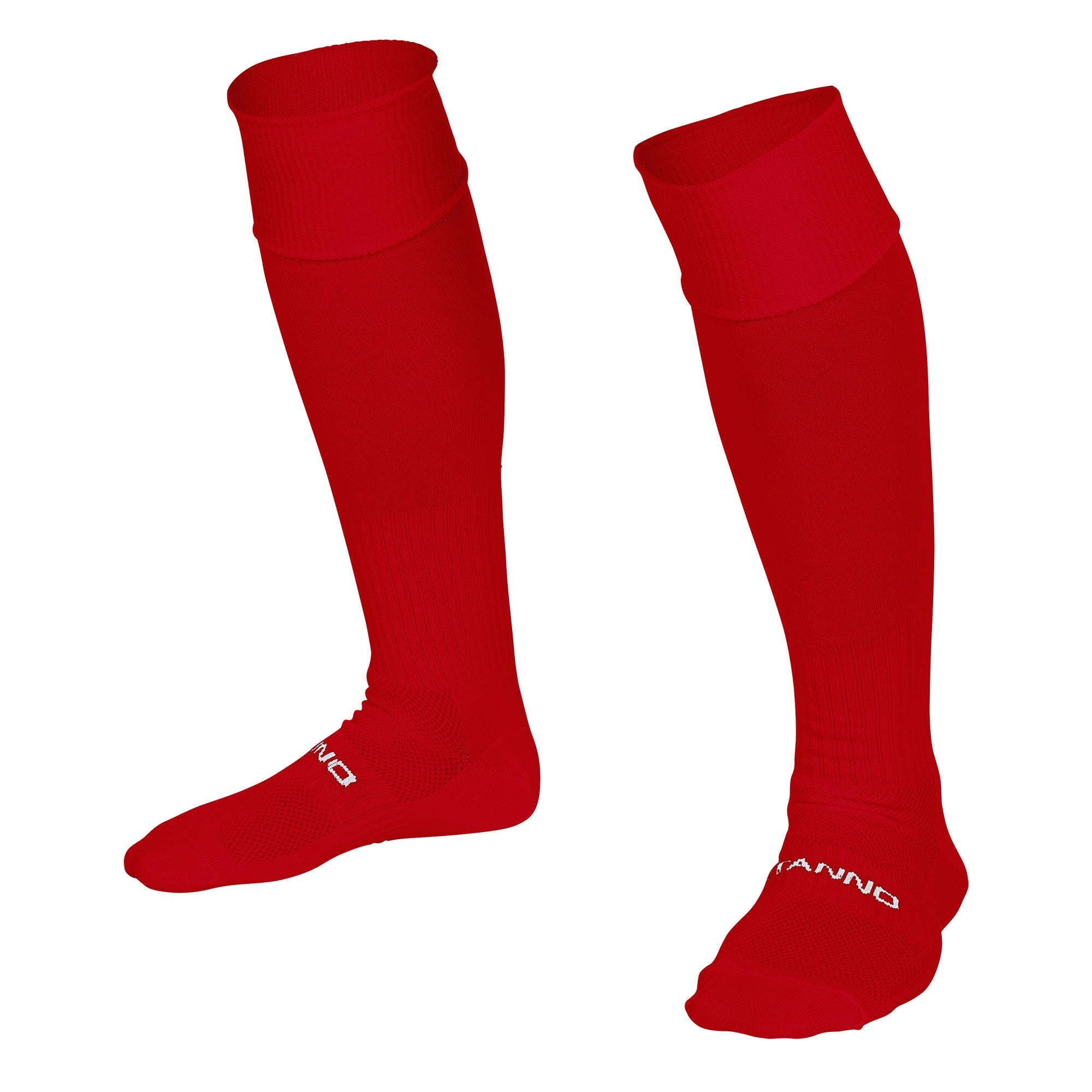Stanno Park sock in red with Stanno text across the top of the foot.