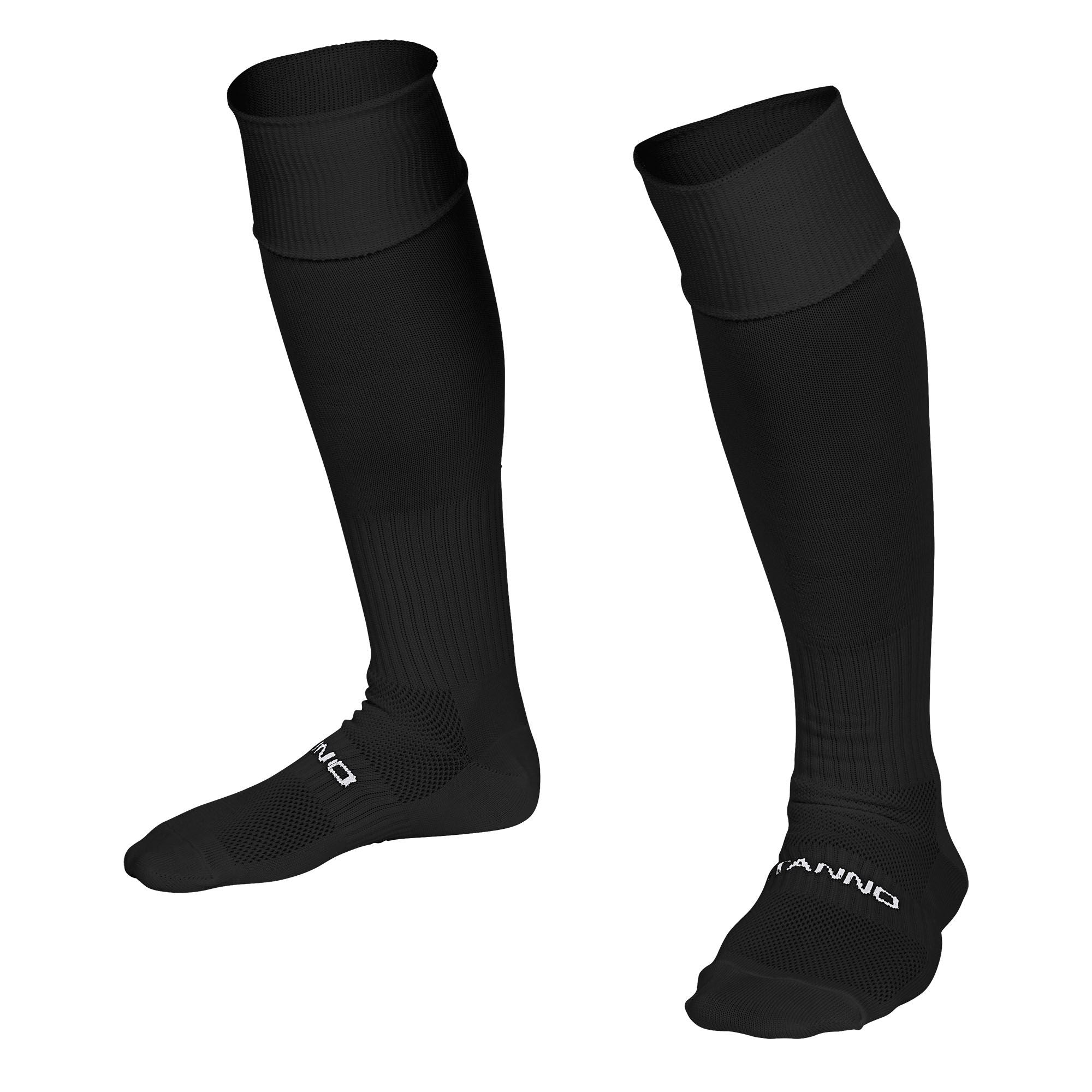Stanno Park sock in black with Stanno text across the top of the foot.