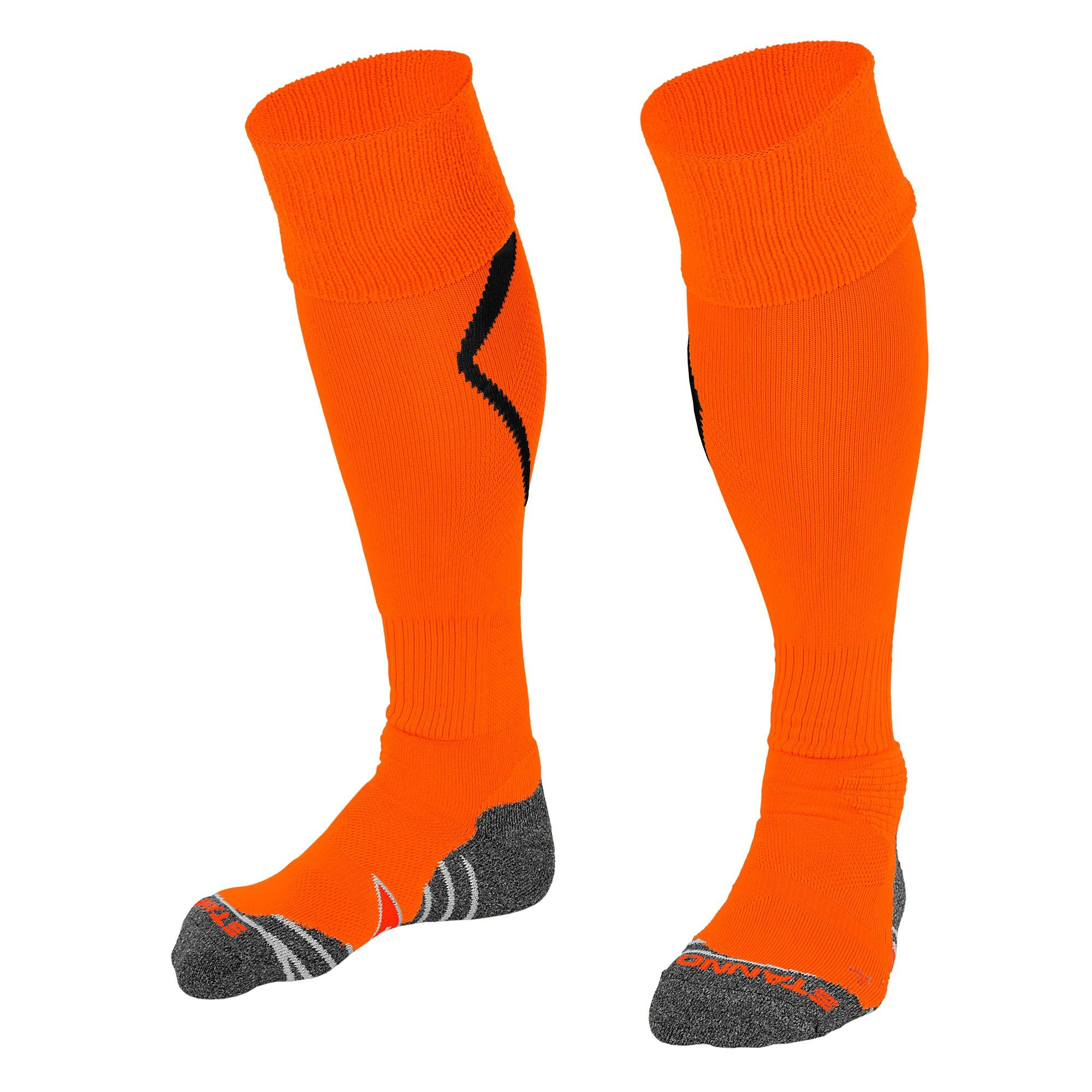 Stanno Forza socks in orange with black arrow design on the calf.
