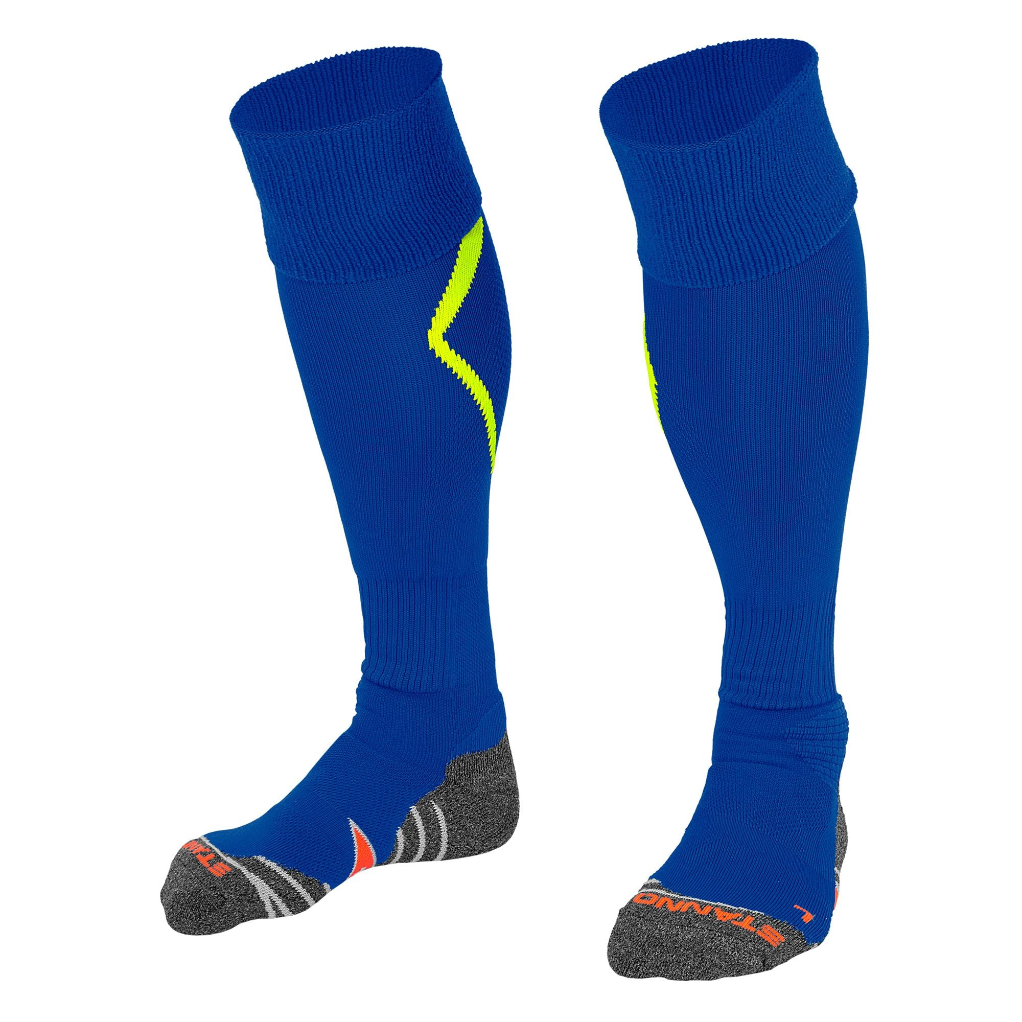 Stanno Forza socks in deep blue with neon yellow arrow design on the calf.