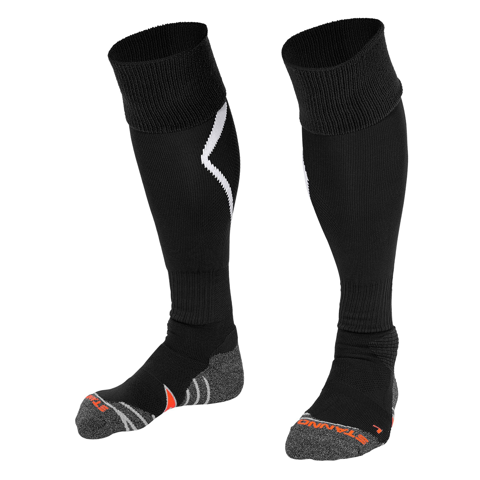 Stanno Forza socks in black with white arrow design on the calf.